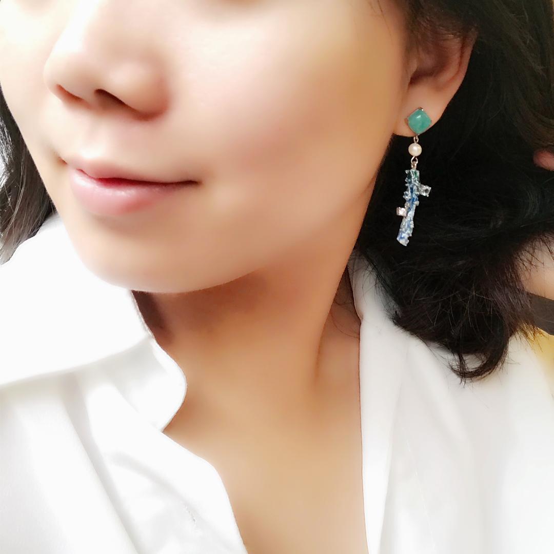 中藥系列 純銀琺瑯耳環