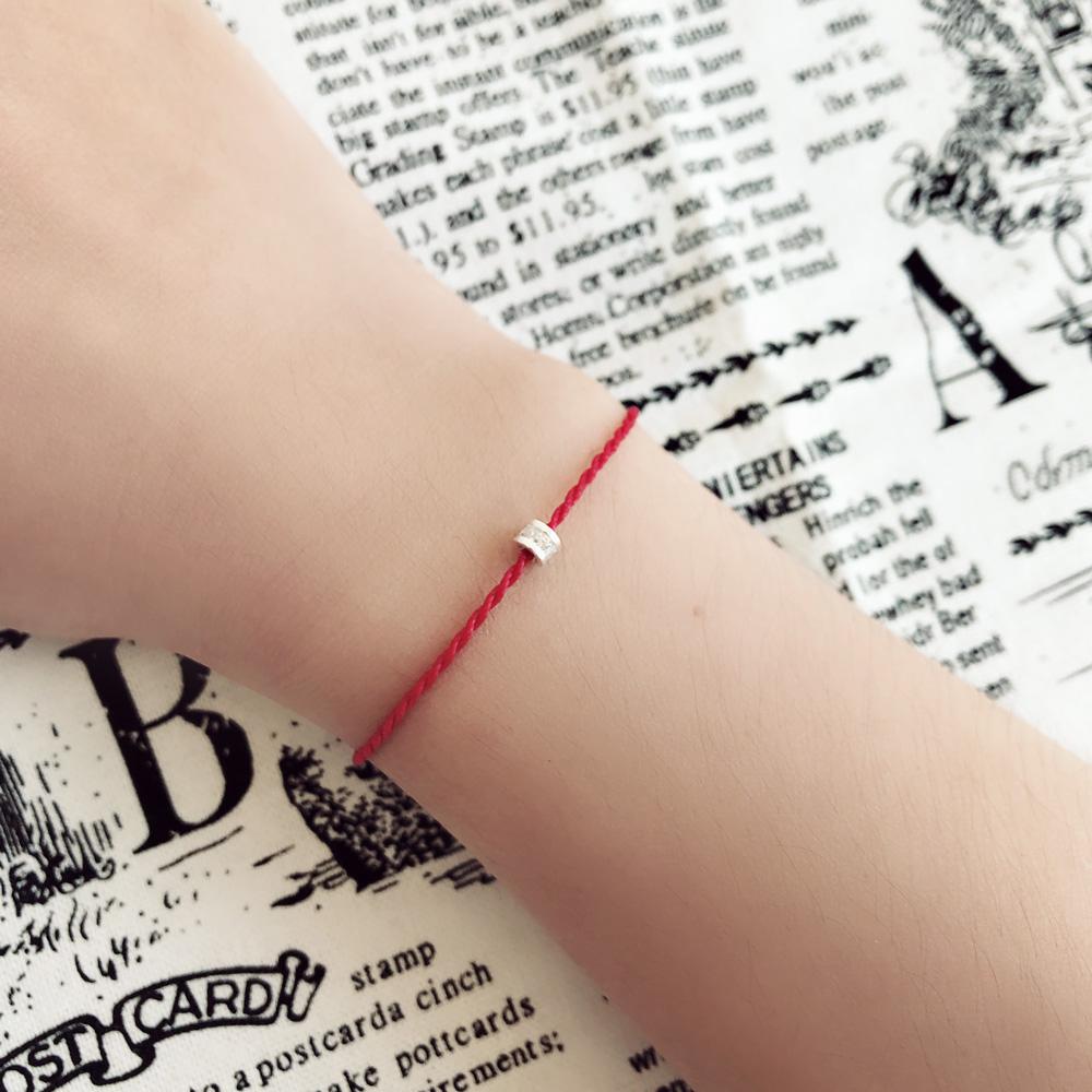 大員囡仔【手工銀飾】圓型滿鑽×紅線 巴西蠟繩/純銀極細手鍊