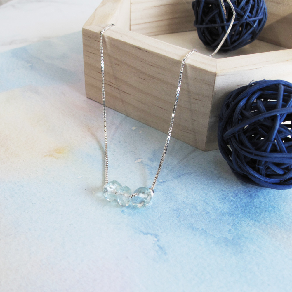 大員囡仔【手工銀飾】海水藍寶×天然石  手工純銀項鍊/鎖骨鍊