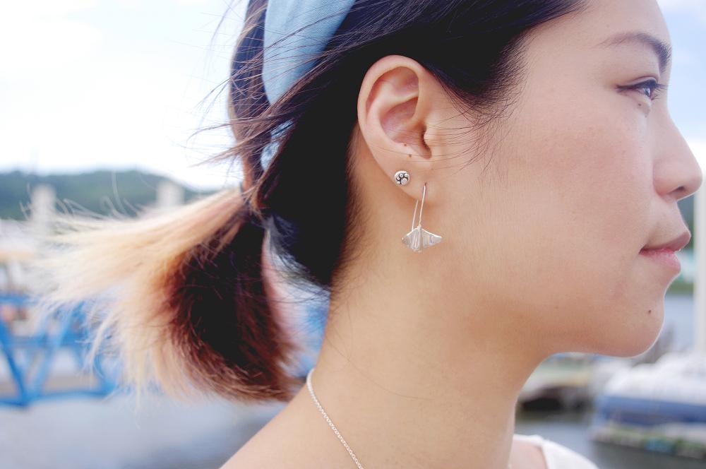 《大海小世界》鬼蝠魟純銀垂掛耳環