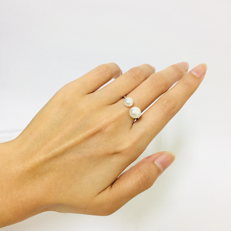 雙珠設計-珍珠戒指