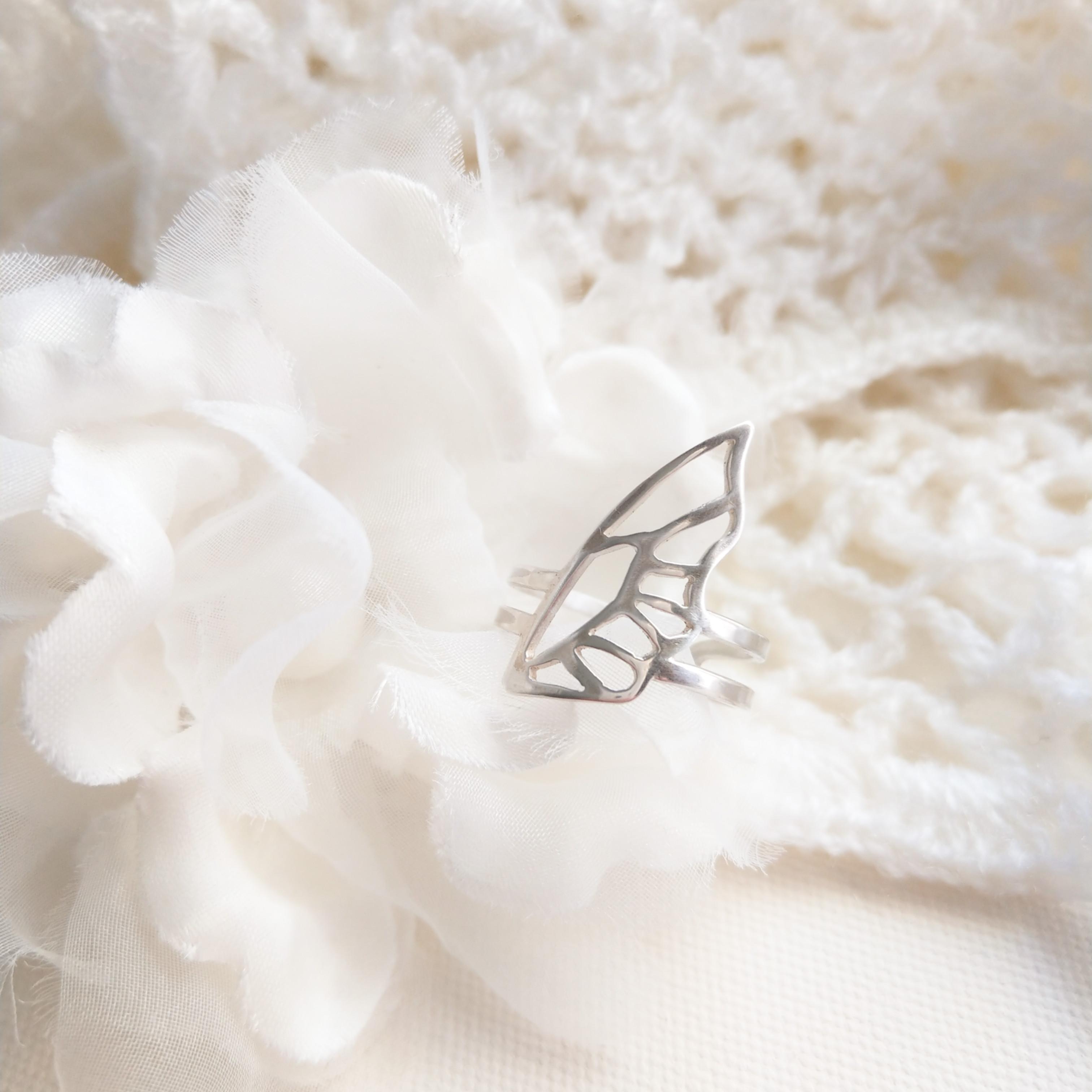 鏤空蝴蝶翅膀 純銀開合戒