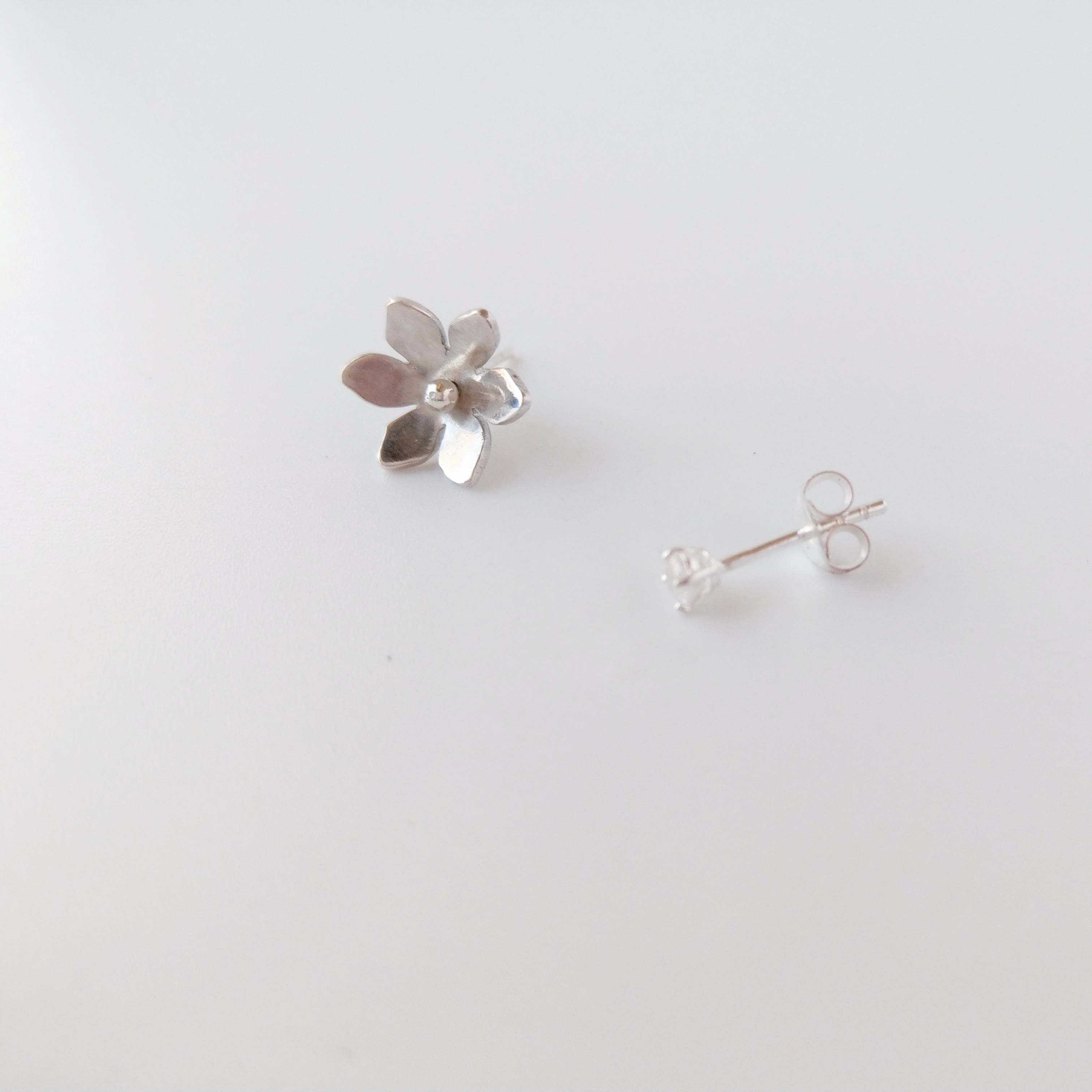 花朵純銀耳針 替換式花蕊 一對