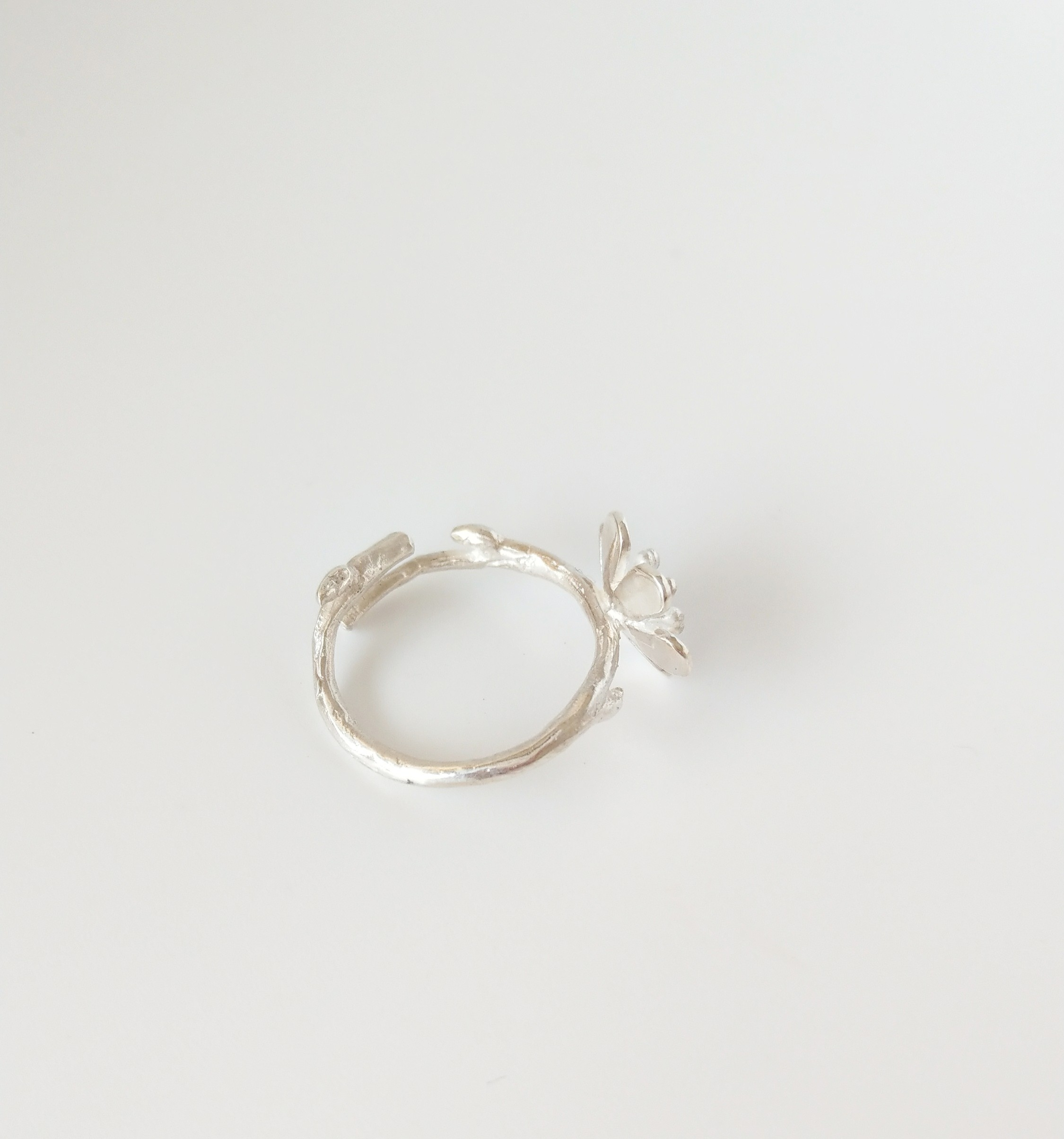 花朵在樹梢 純銀戒指 開放式戒圍