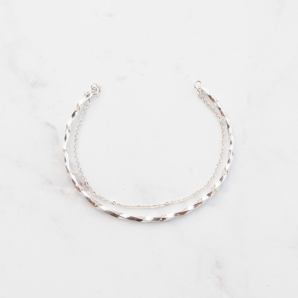 大員囡仔【手工銀飾】極簡扭轉×雙層×銀鍊C圈  純銀手環