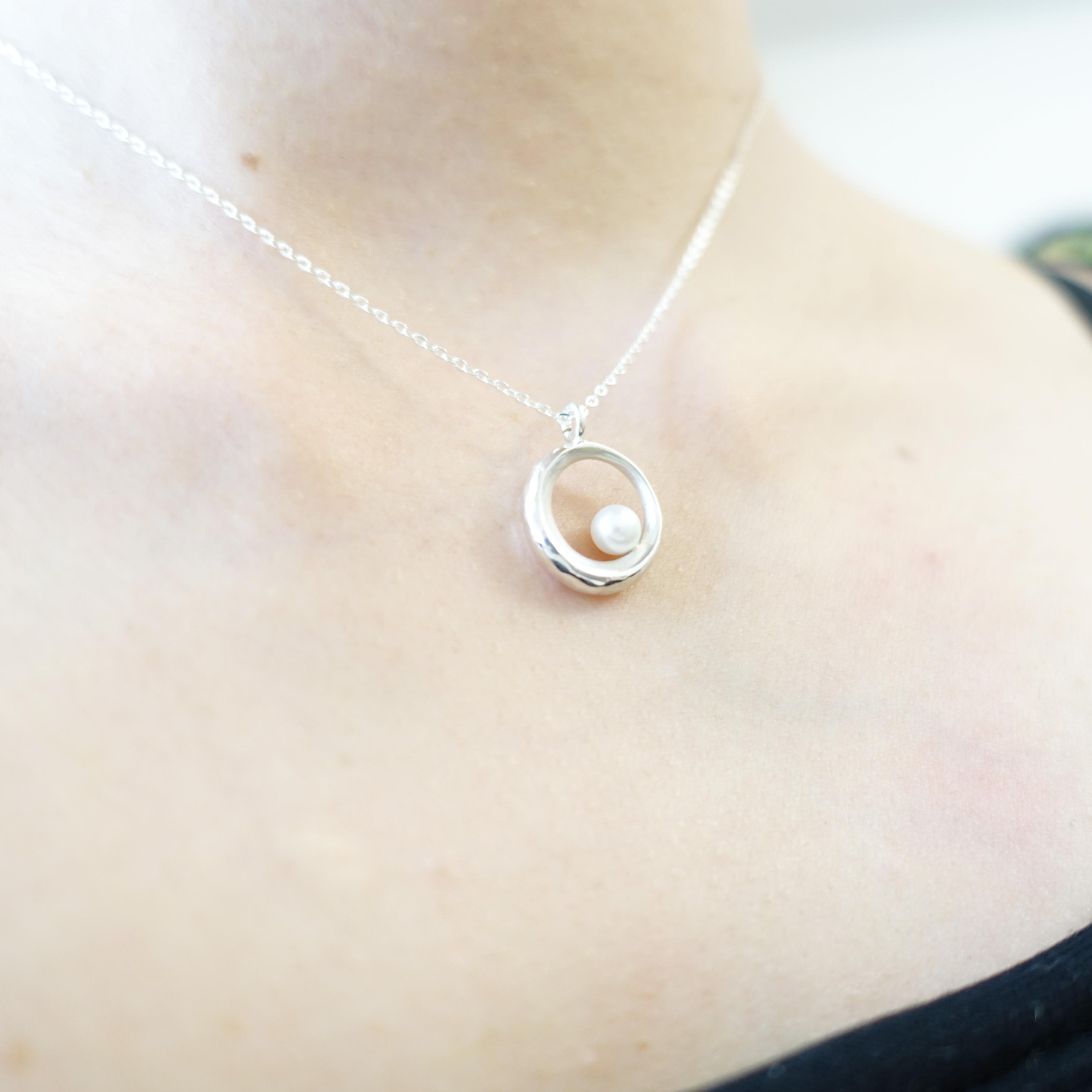 明月光 純銀 月亮 珍珠 項鍊