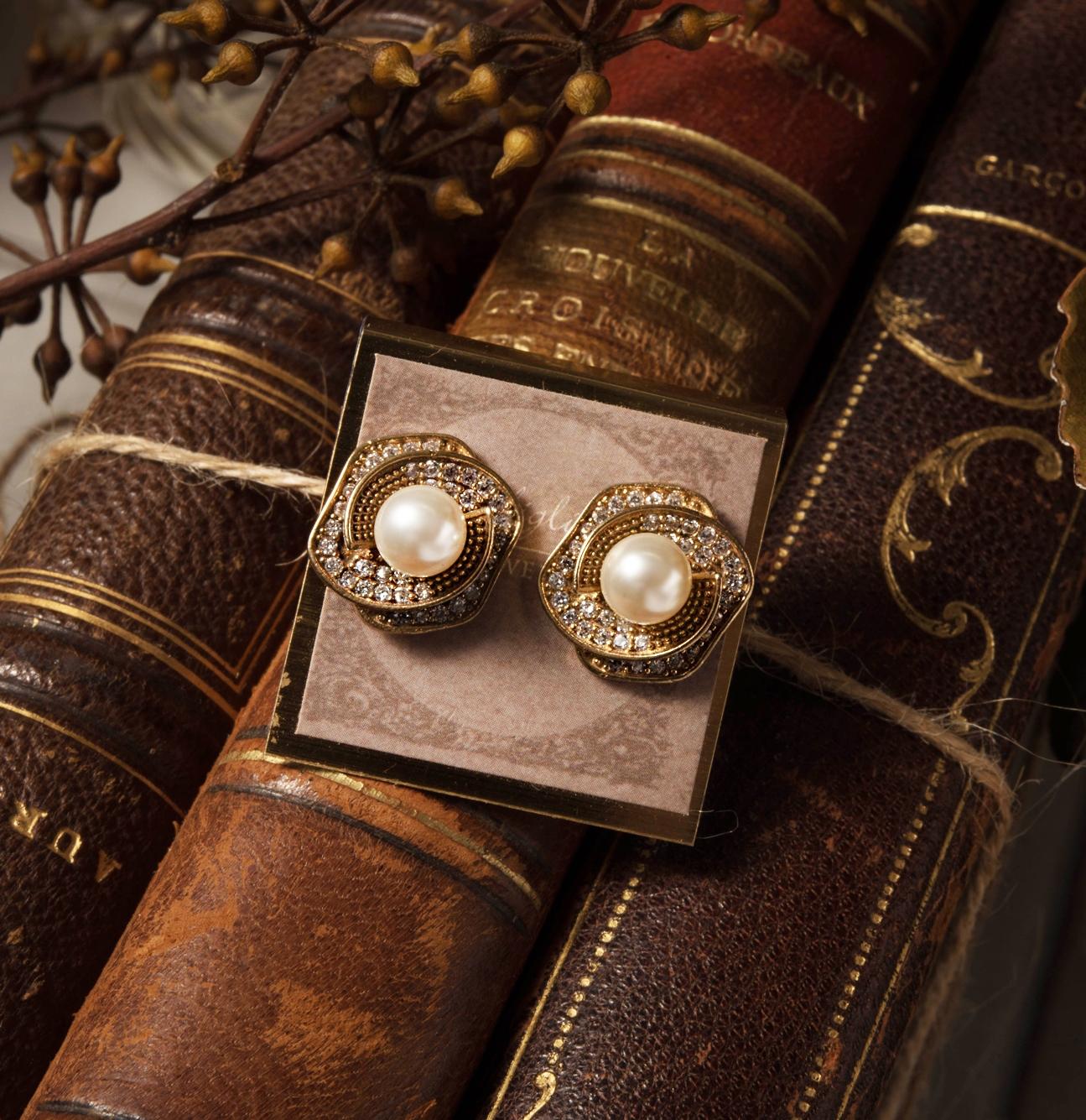 朝露玫瑰貼式耳環