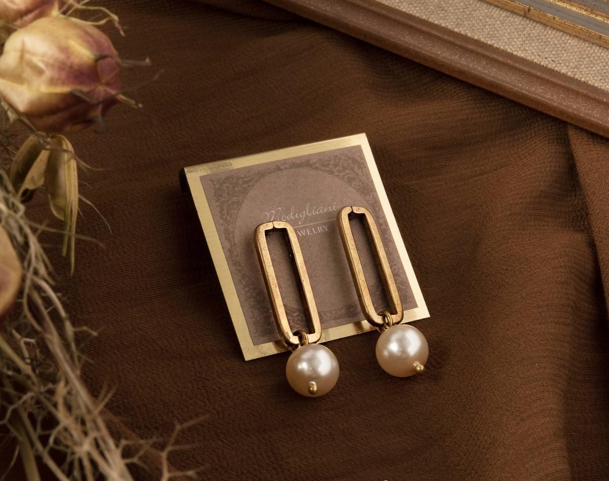 方框珍珠垂墜式耳環