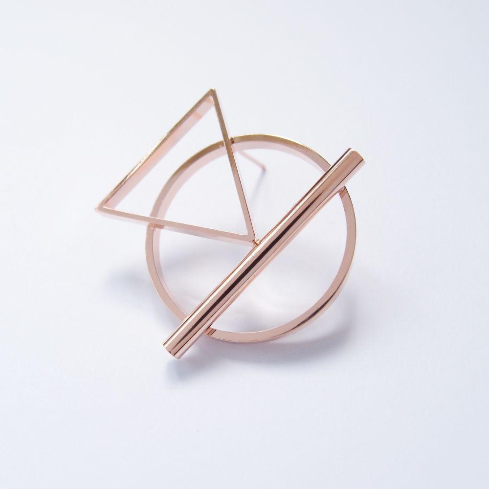 幾何風景1 玫瑰金屬耳環