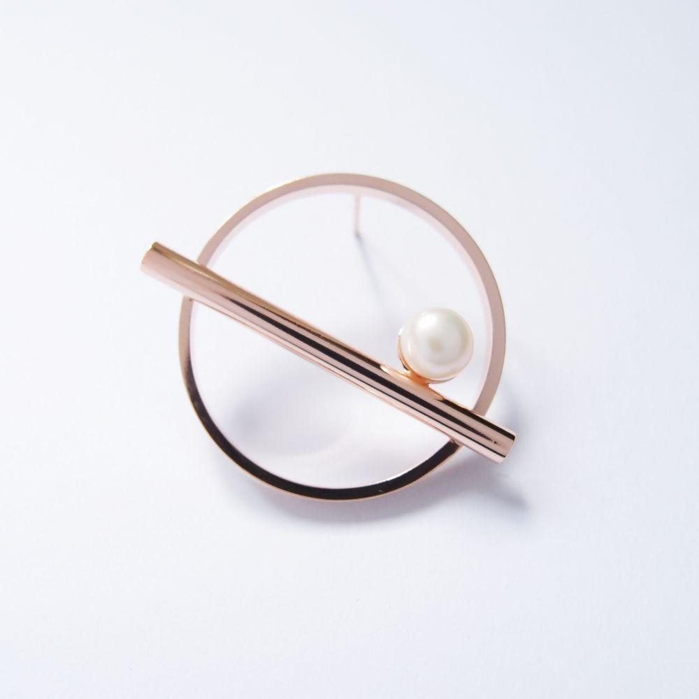 幾何風景2 珍珠玫瑰金屬耳環