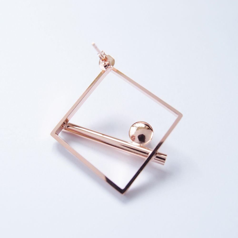 幾何風景3 珍珠玫瑰金屬耳環