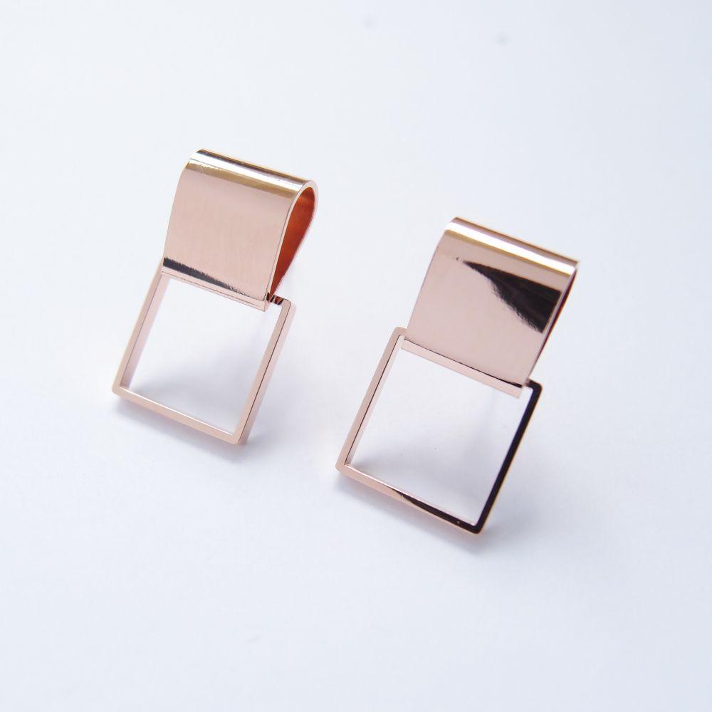 幾何風景4 玫瑰金屬耳環