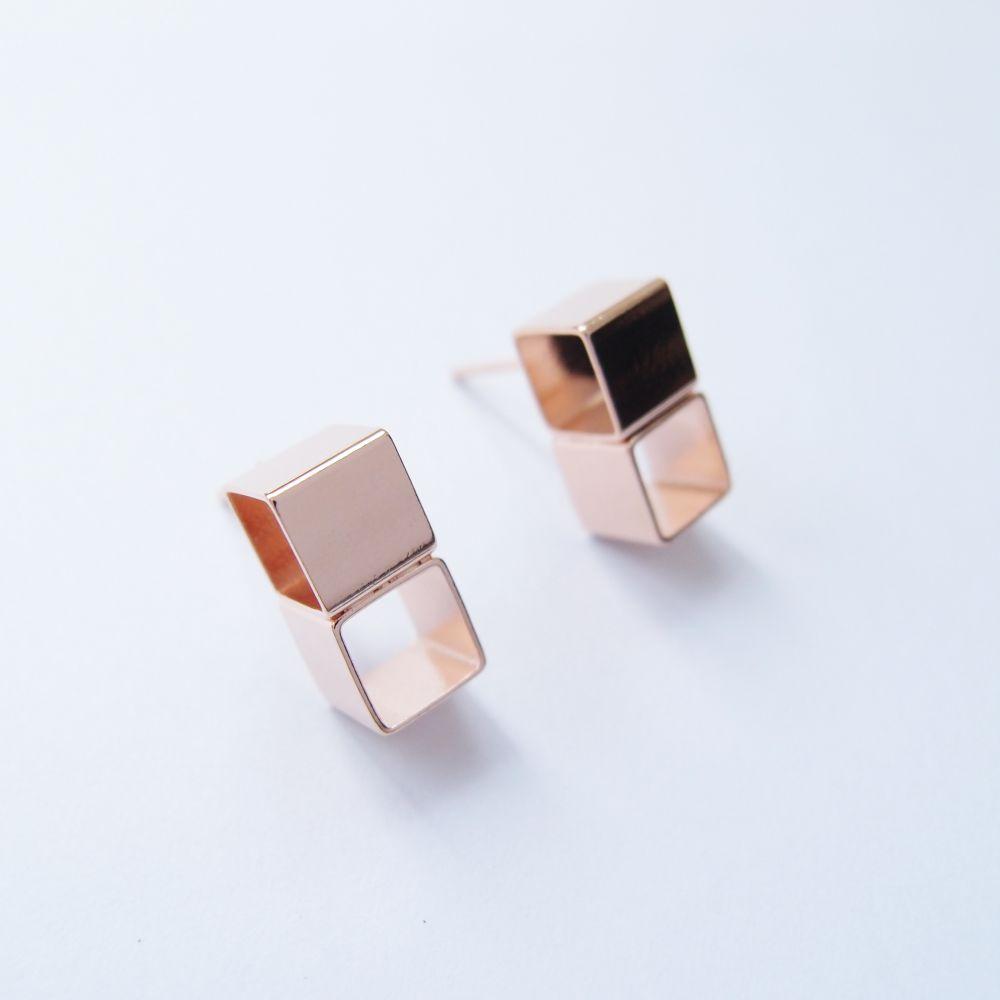 幾何風景5 玫瑰金屬耳環