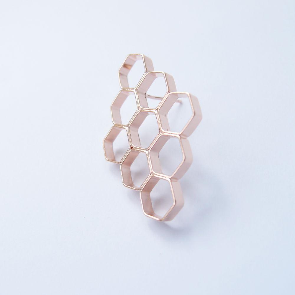幾何風景6 玫瑰金屬耳環