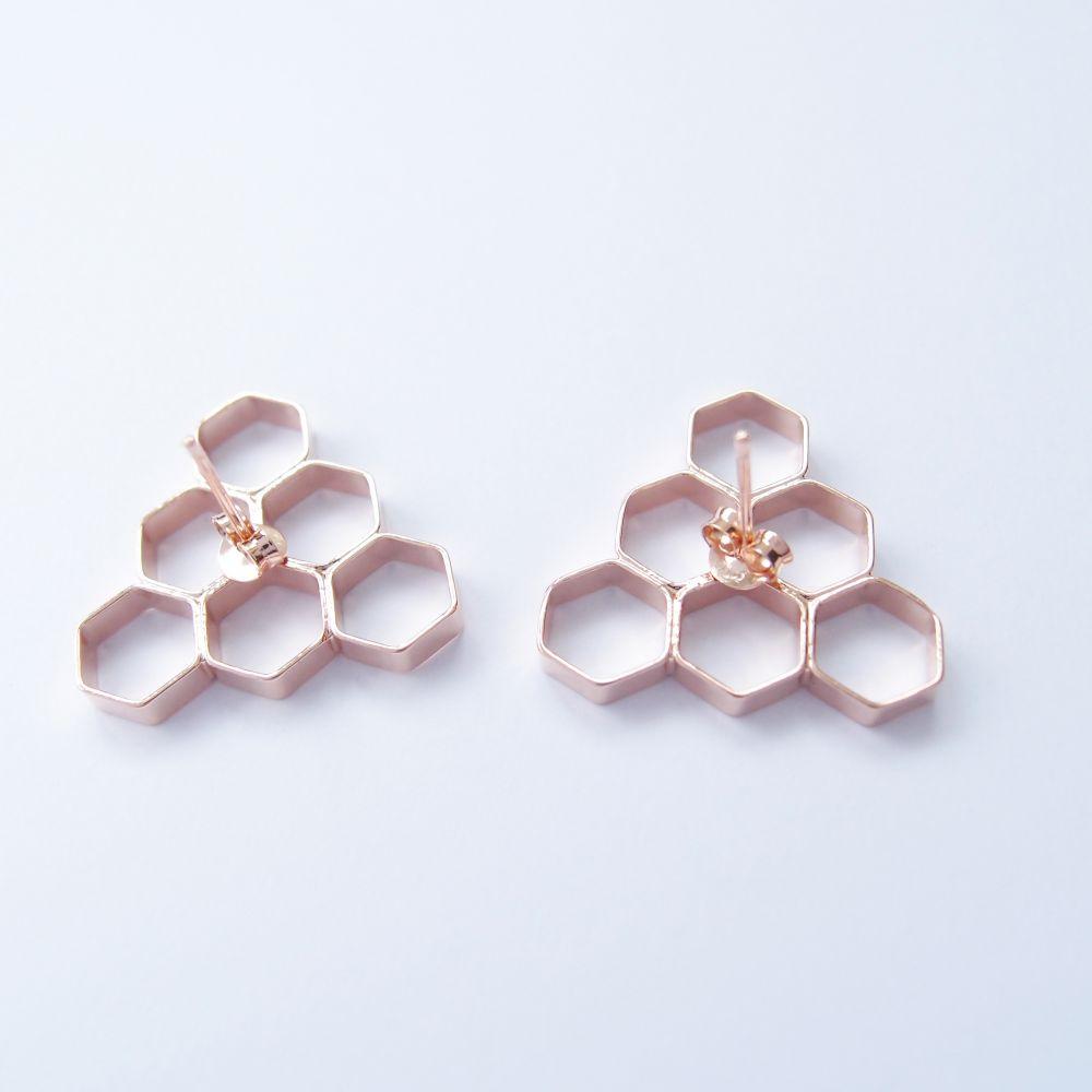 幾何風景8 玫瑰金屬耳環