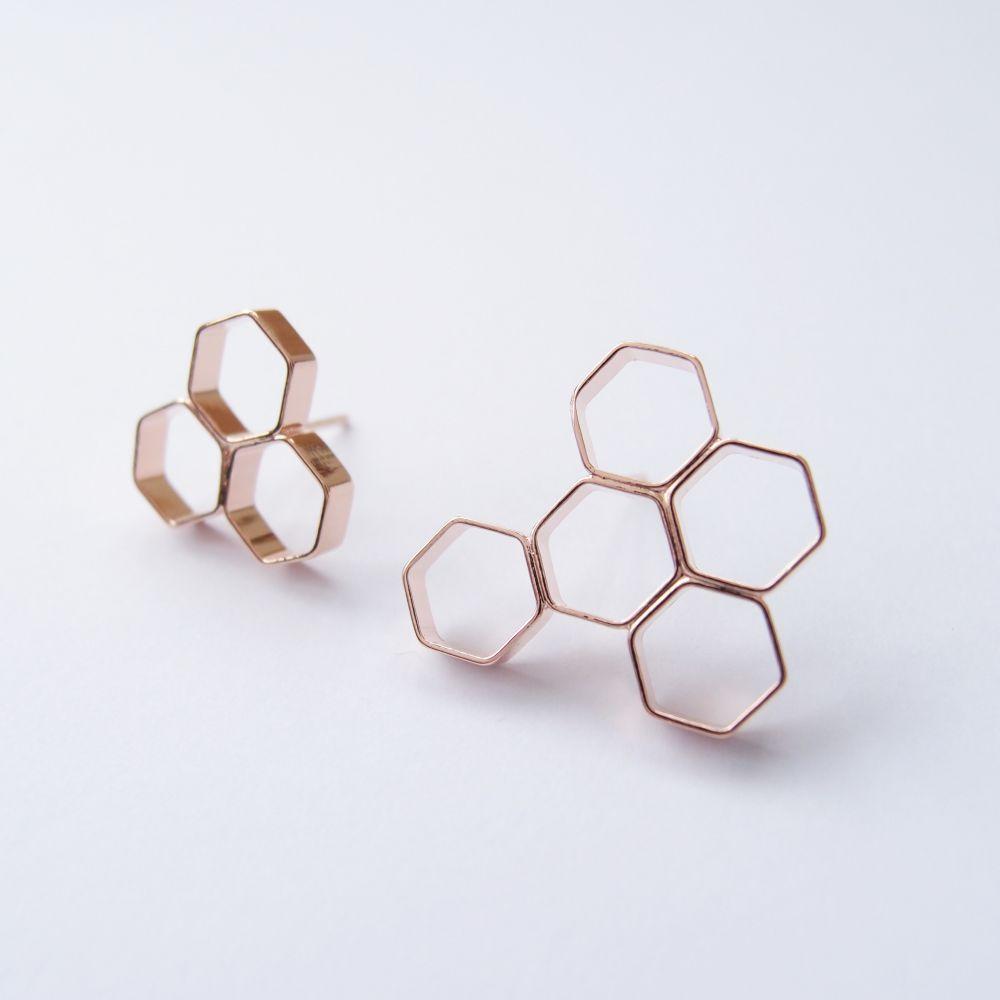 幾何風景9 玫瑰金屬耳環