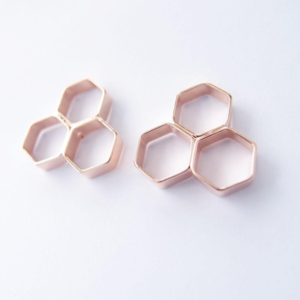幾何風景10 玫瑰金屬耳環