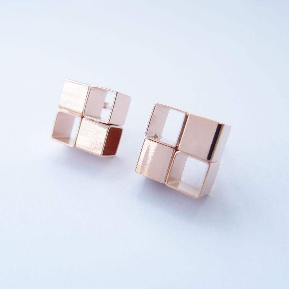幾何風景12 玫瑰金屬耳環