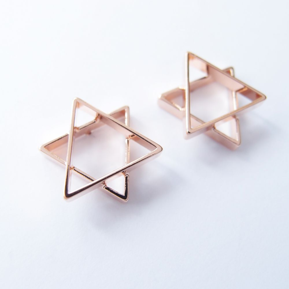六角星 玫瑰金屬耳環