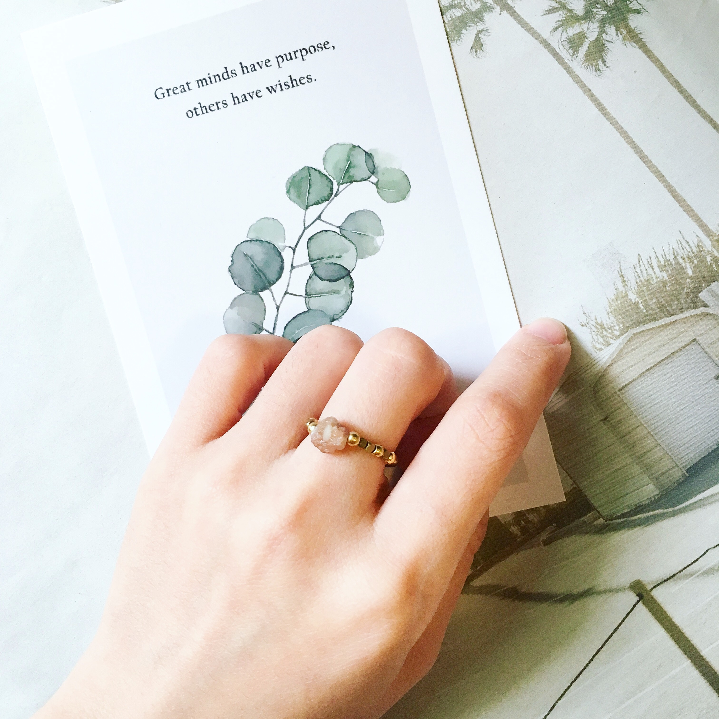 碧璽原礦戒指 黃銅款 可訂製戒圍