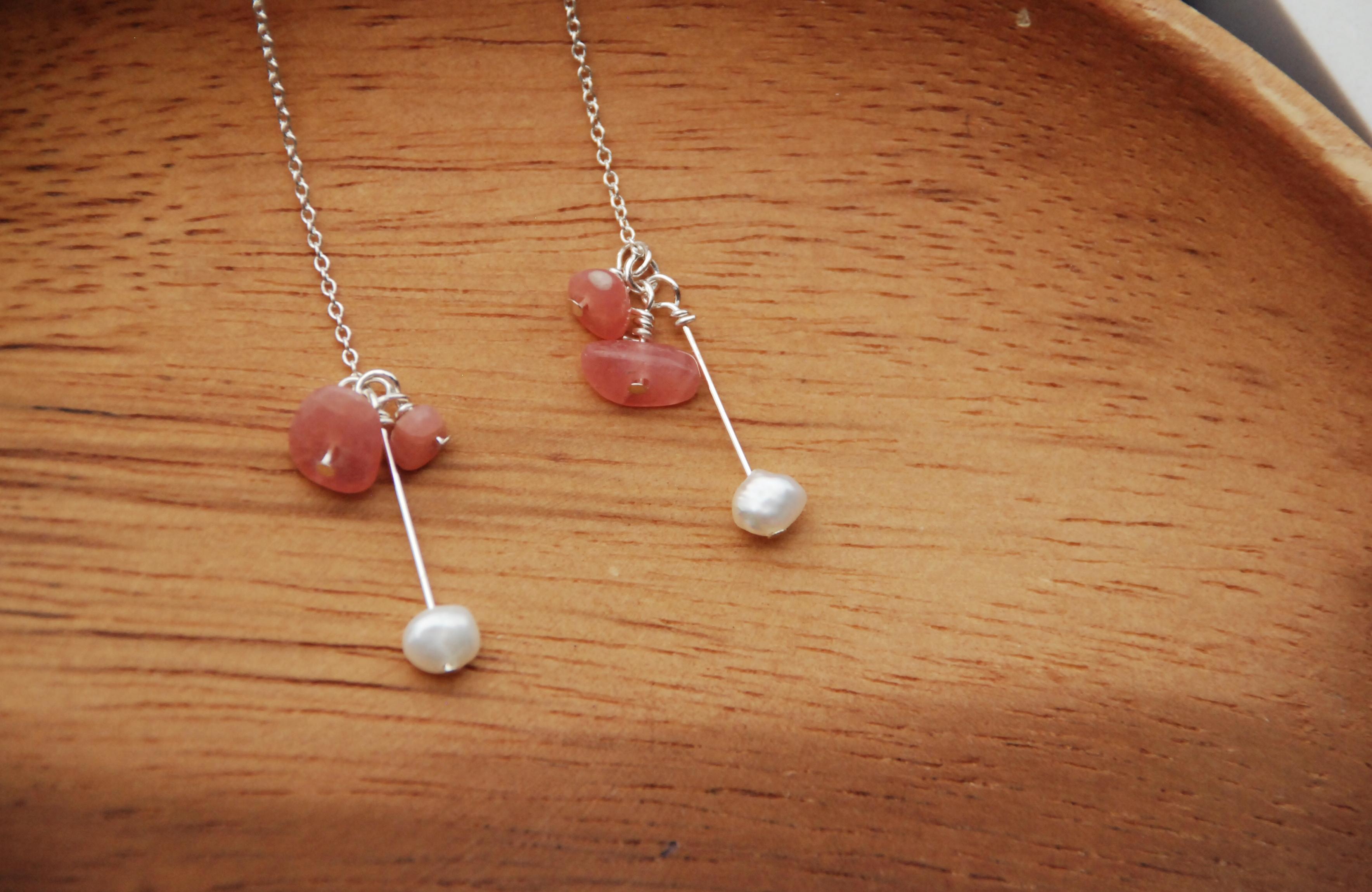 思念的顏色 - 純銀天然石垂墜耳環