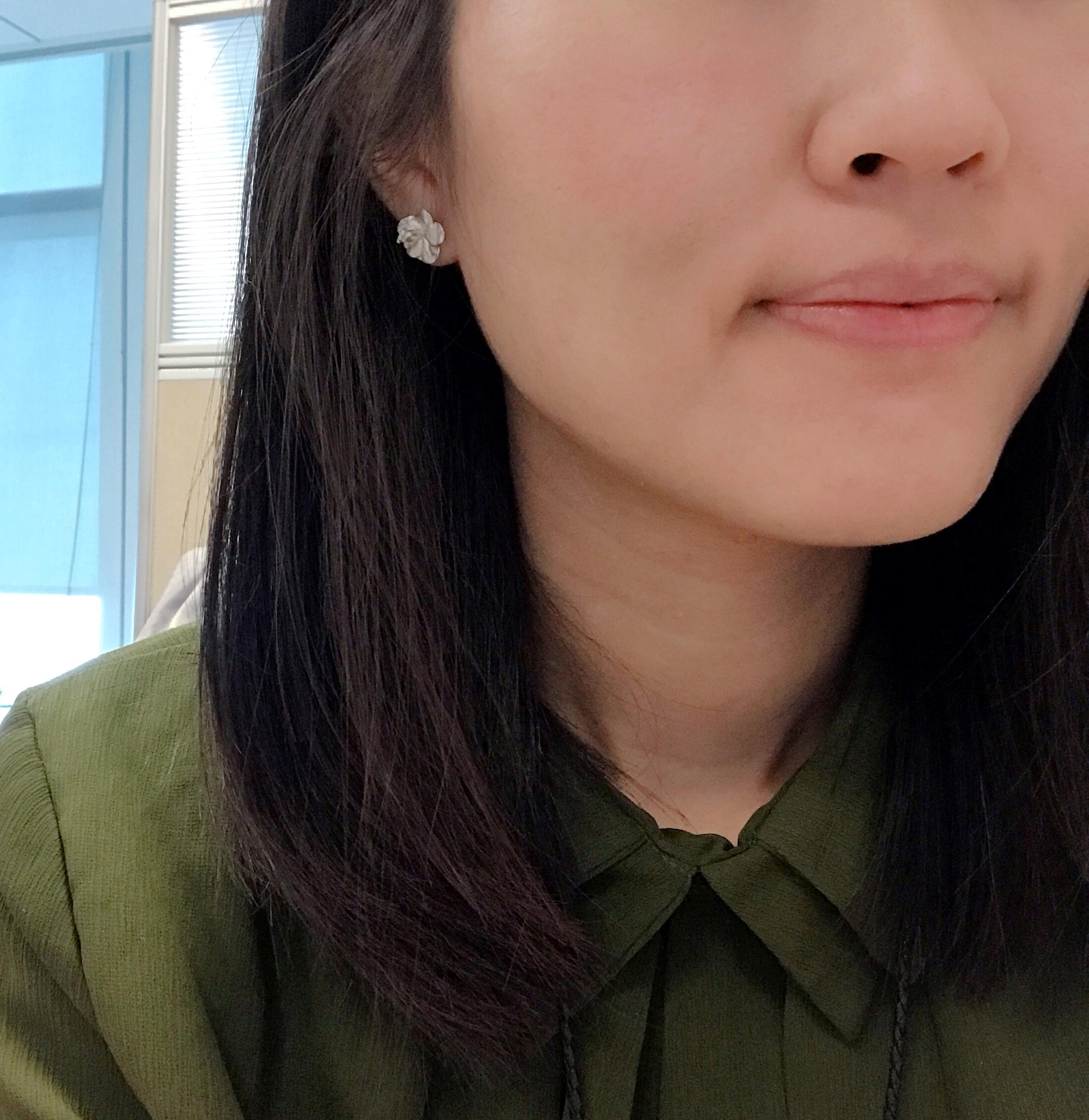 純銀耳環 - 小扶桑花款