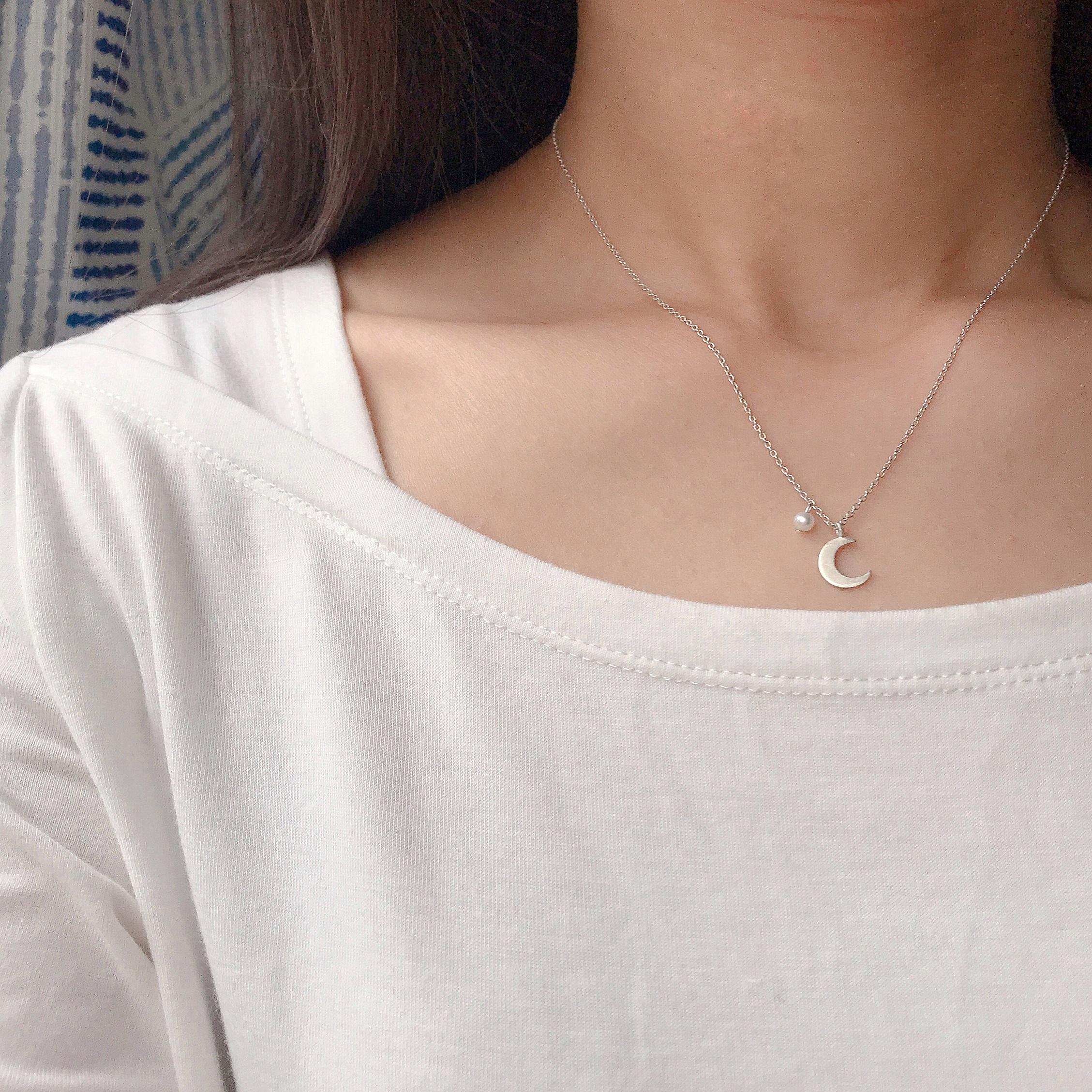 純銀珍珠項鍊 - 溫暖的月光