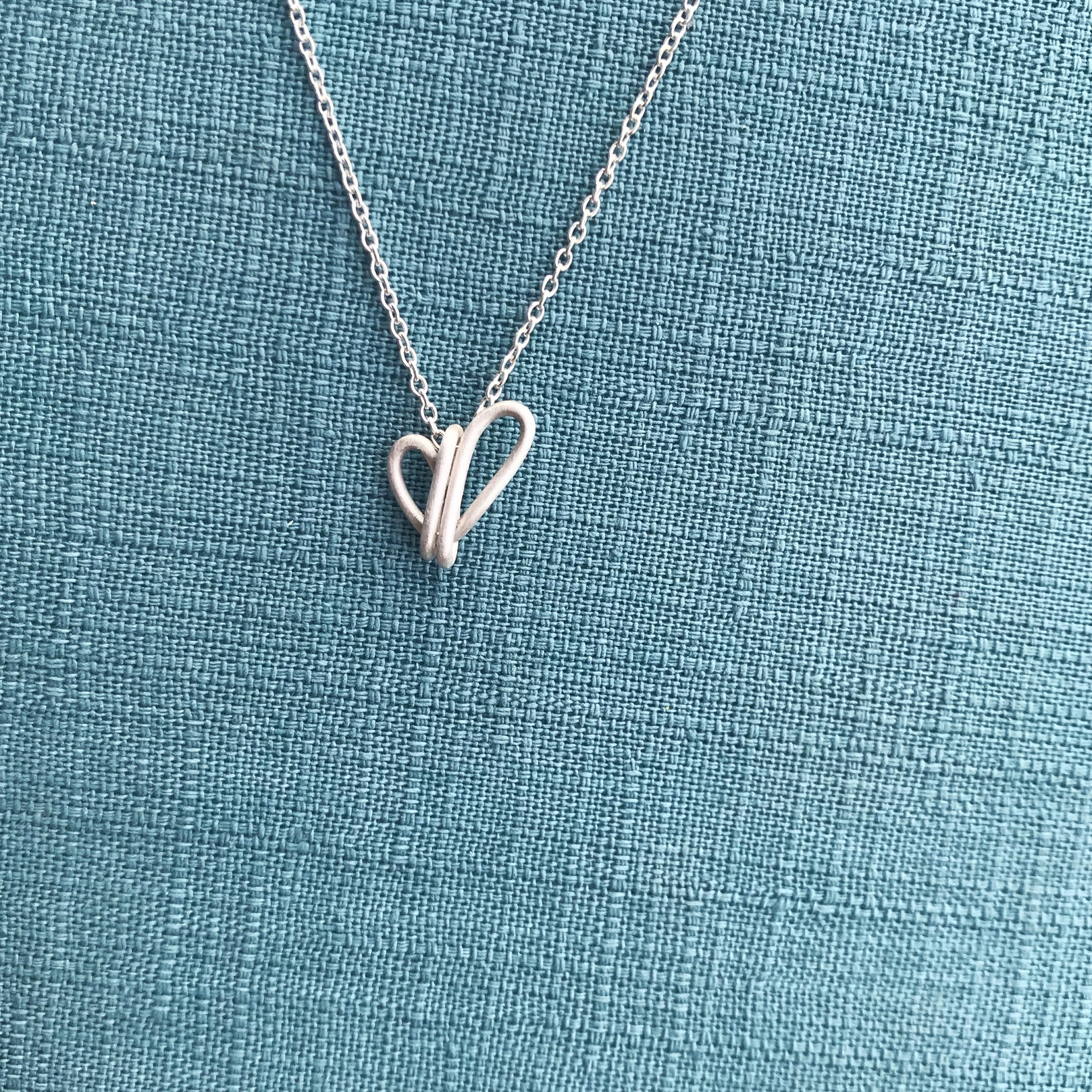 純銀項鍊 - 不對稱愛心