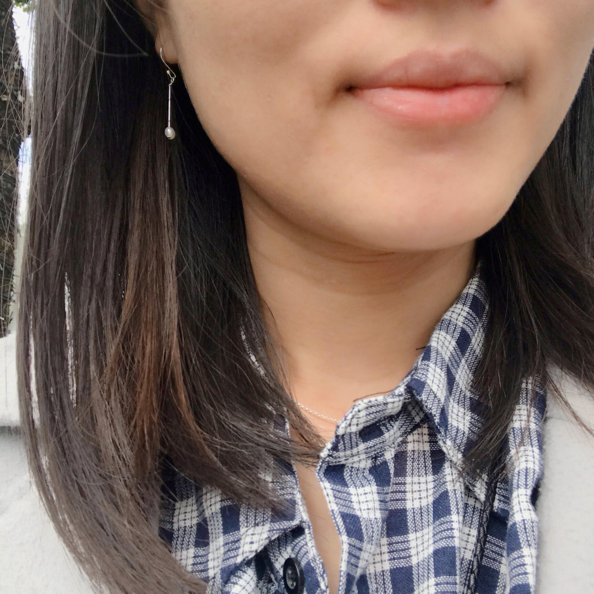 純銀垂墜耳環 - 淡水珍珠