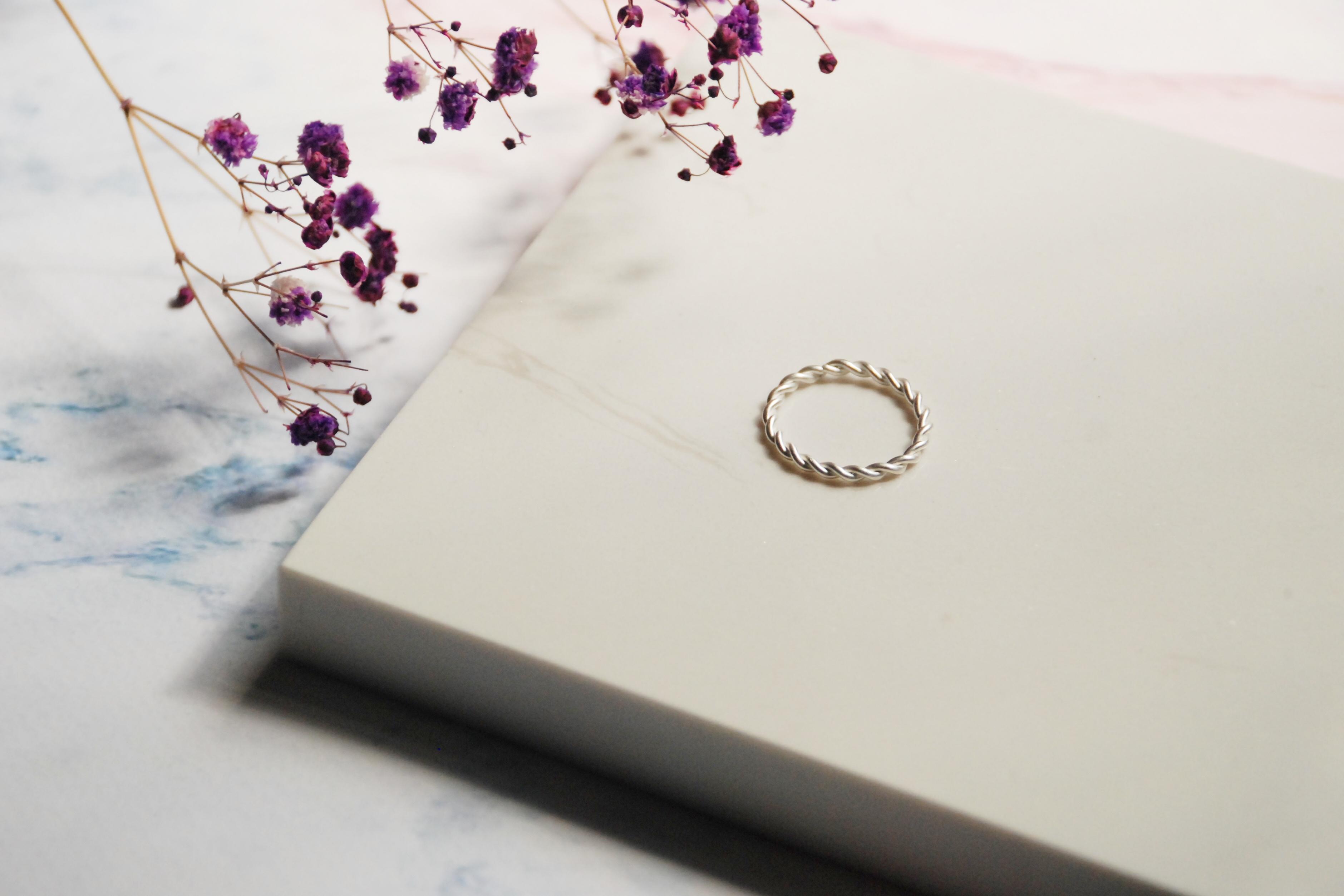 純銀戒指 - 經典麻花戒