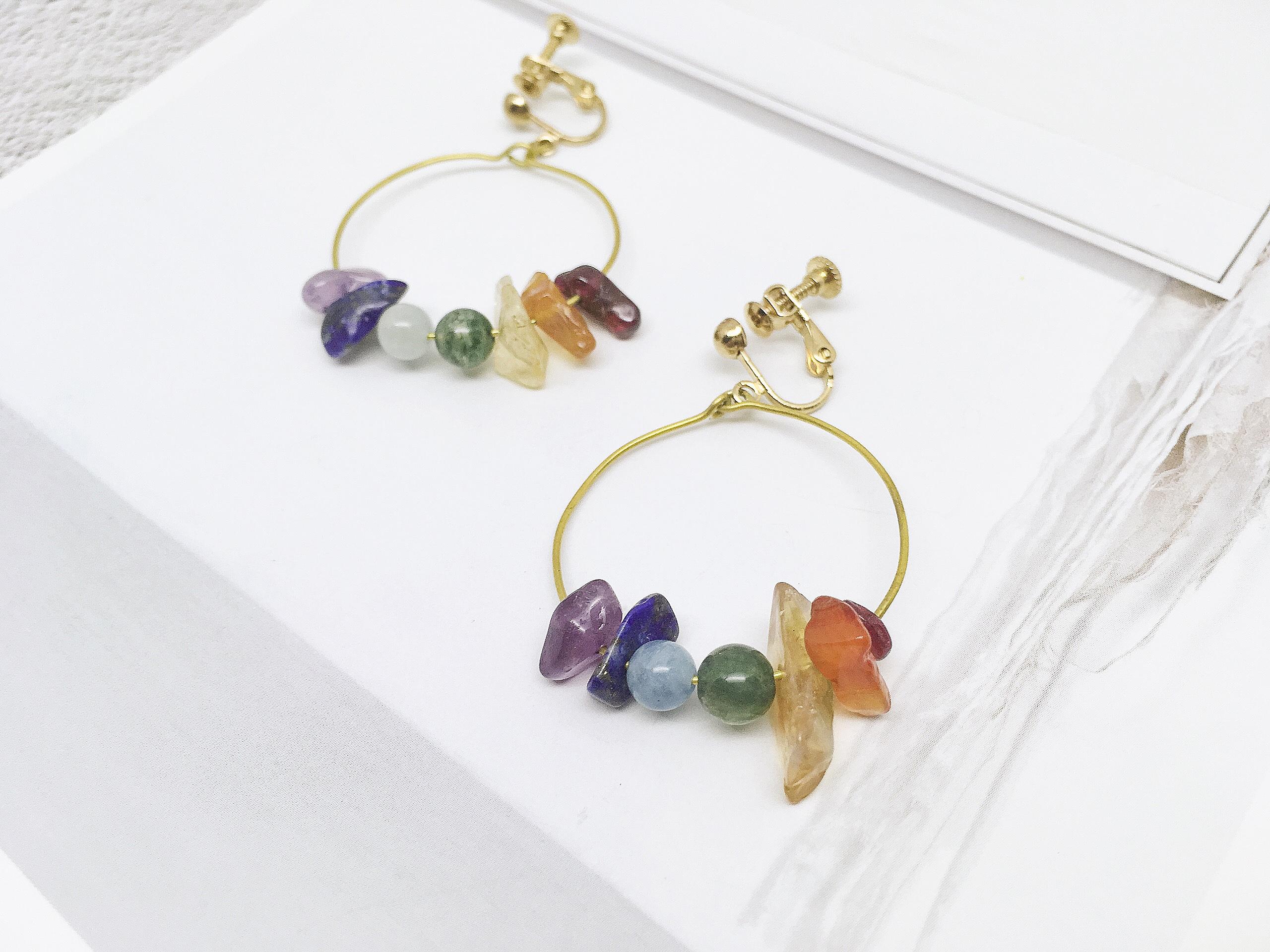 同心 - 彩虹礦石耳環