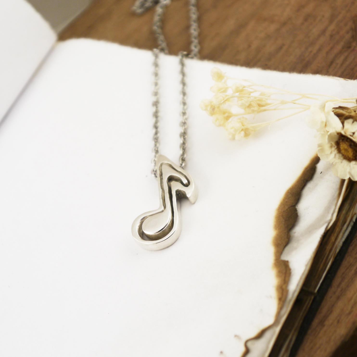音樂系 -Eighth Note 八分音符純銀情侶項鍊- 對鍊