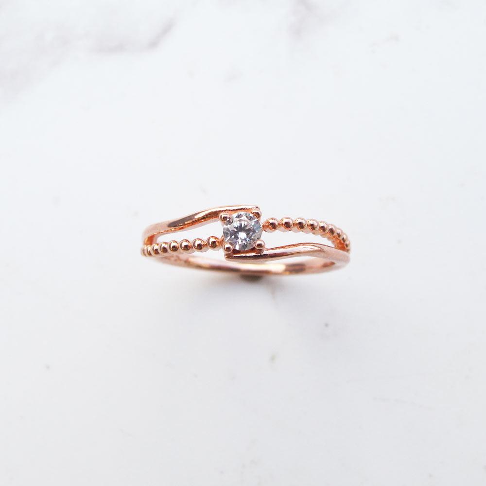 大員囡仔【獨家精選】 華麗×麻花流線×純銀電鍍玫瑰金戒指
