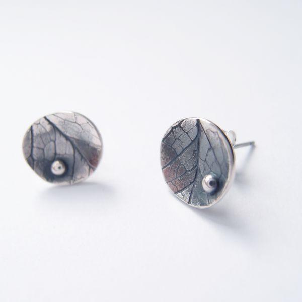 圓形葉脈 925銀耳環