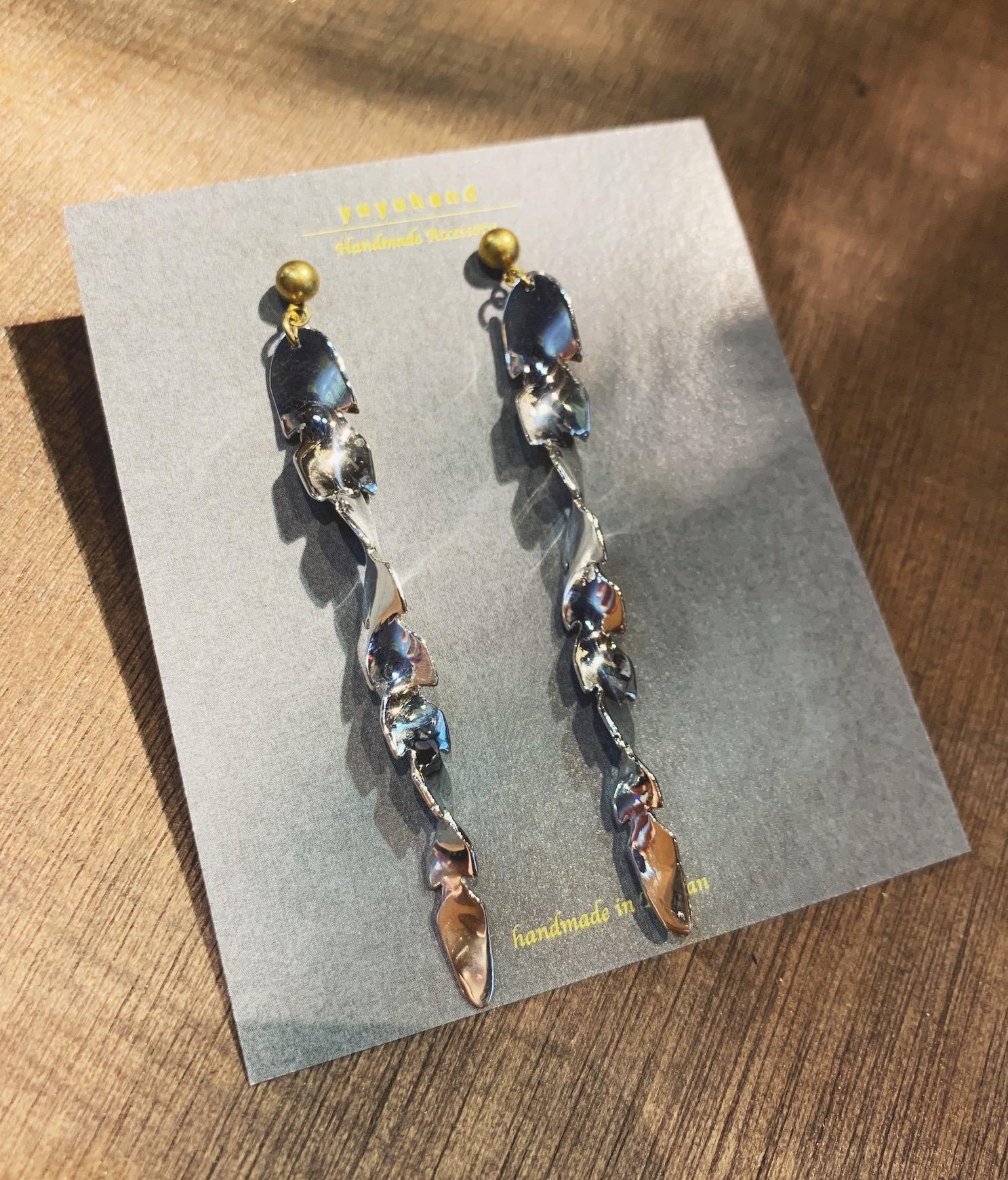 金工耳環 水草 純銀