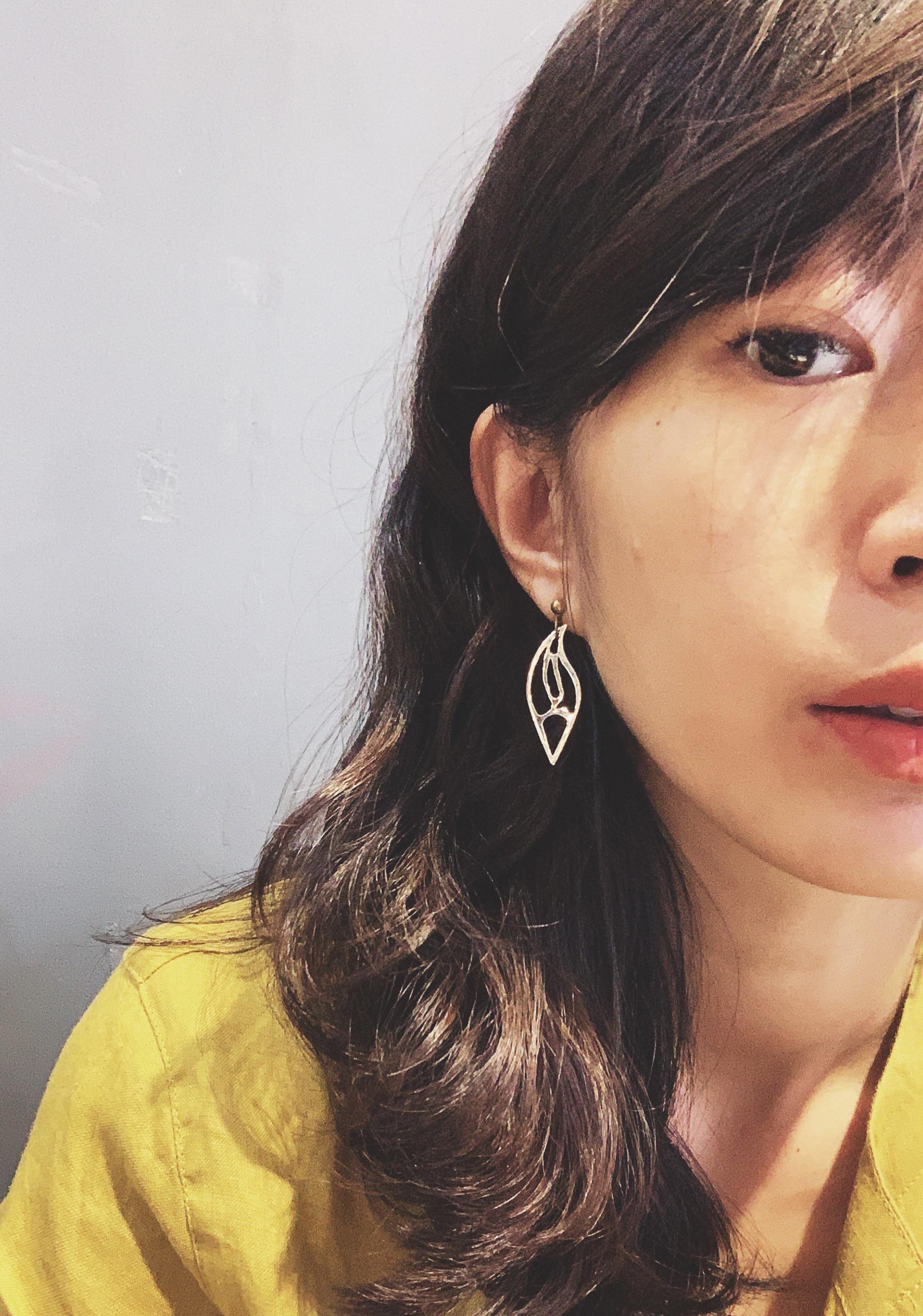 金工耳環 尖葉子 純銀