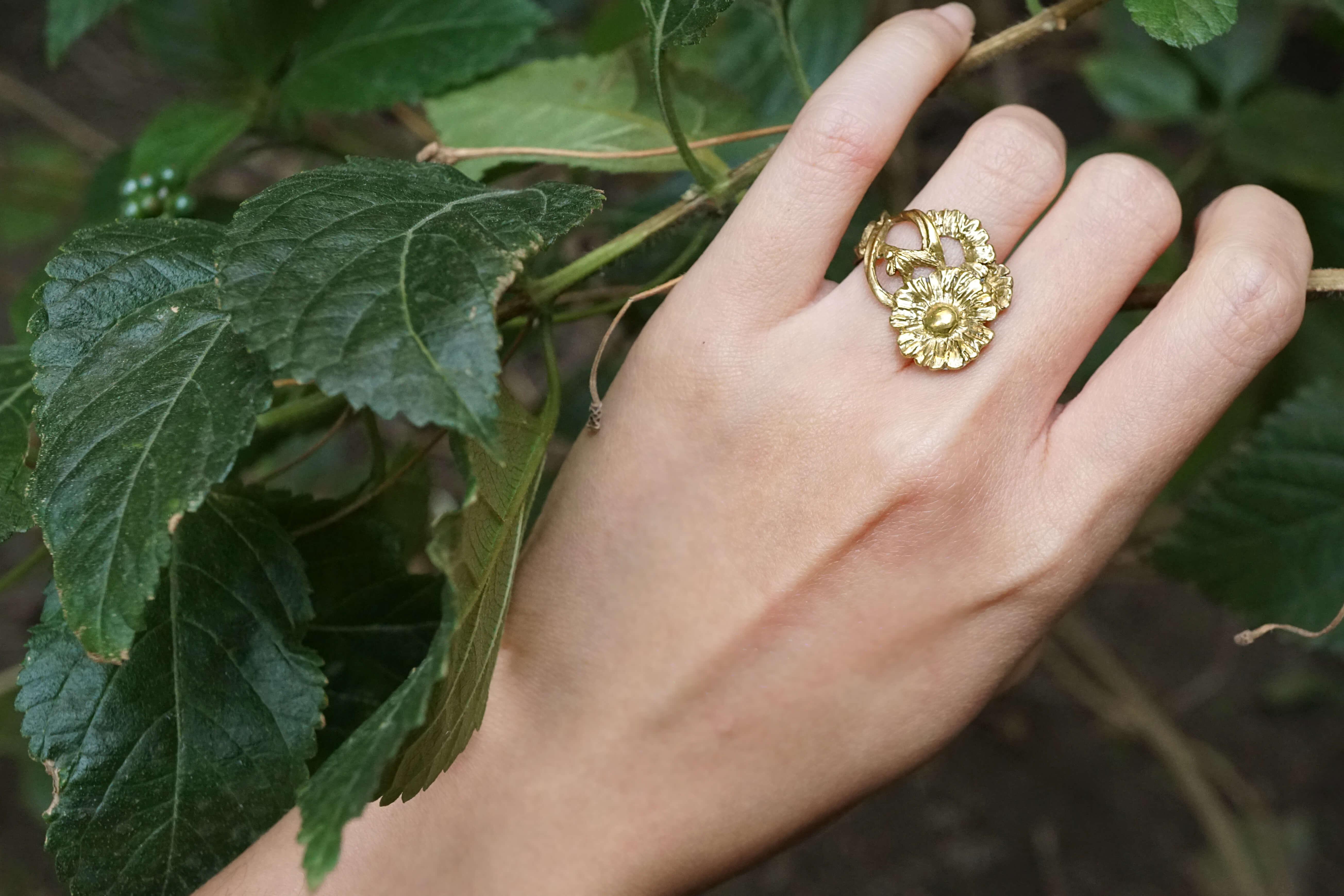 小花園系列-小雛菊黃銅戒