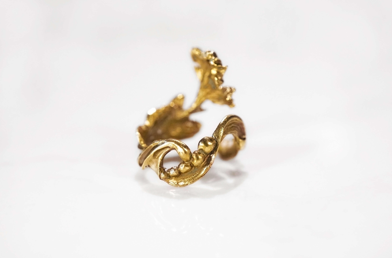 小花園系列-鳶尾花黃銅戒指