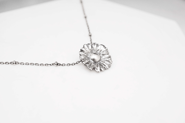 小花園系列-單朵雛菊純銀項鍊