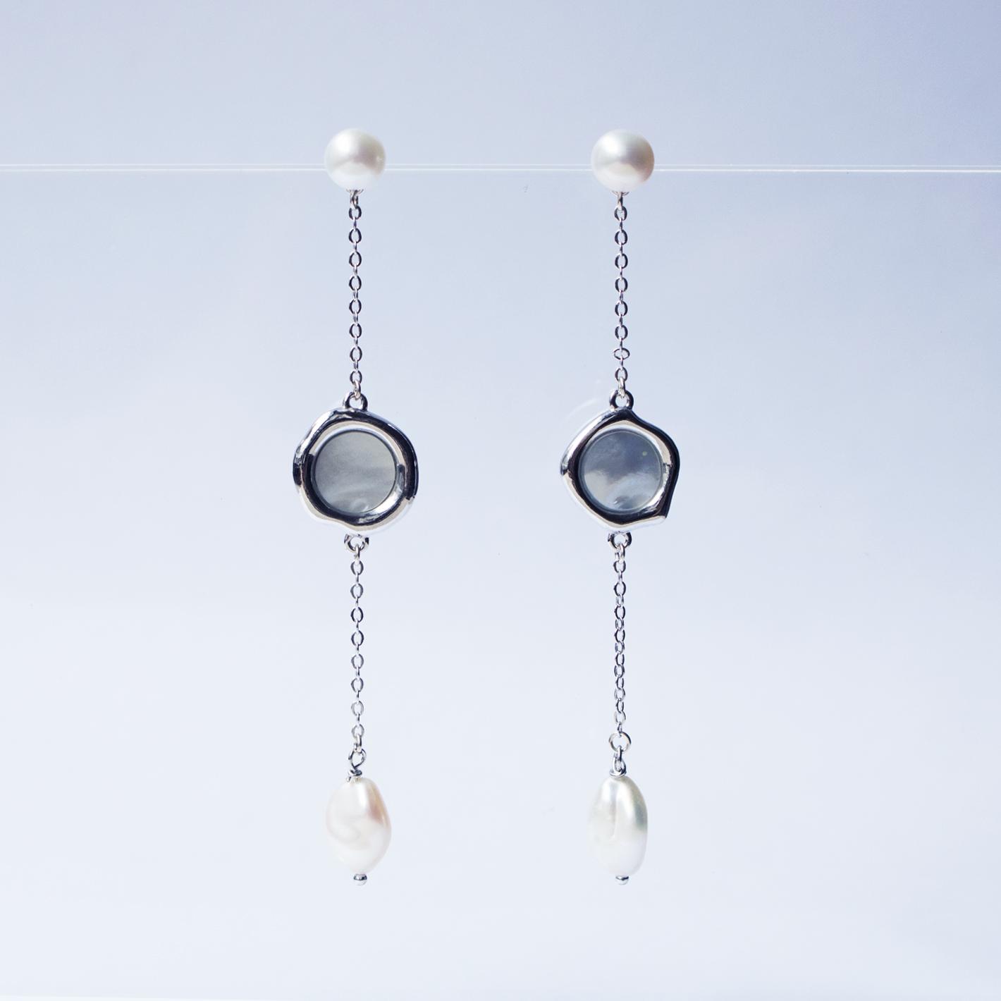 湖之鏡-珍珠耳環