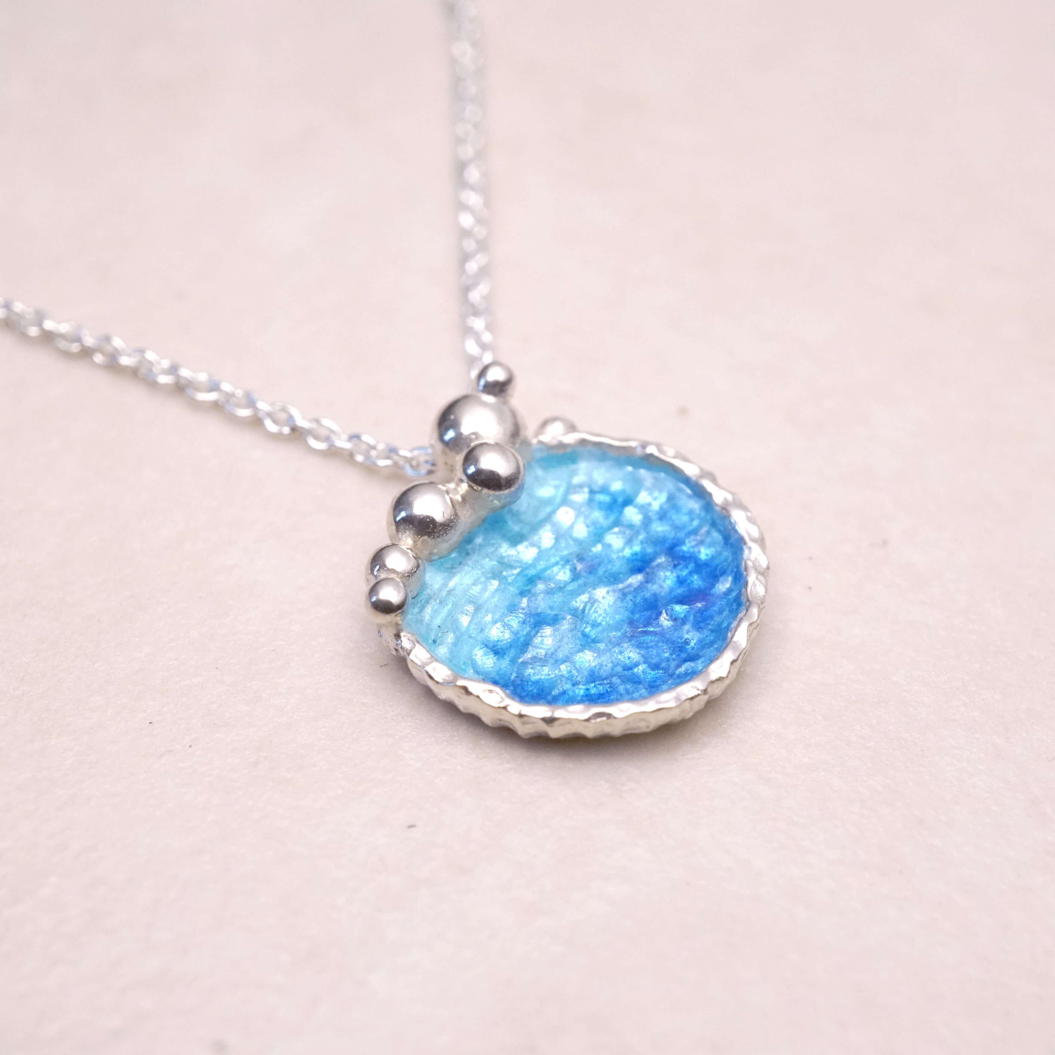 海洋系列-湛藍琺瑯銀鎖骨項鍊