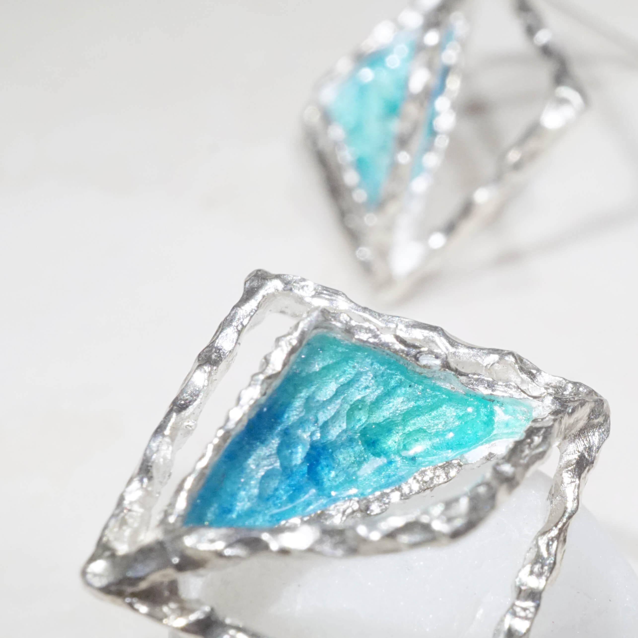 海洋系列-極簡海洋琺瑯銀耳環