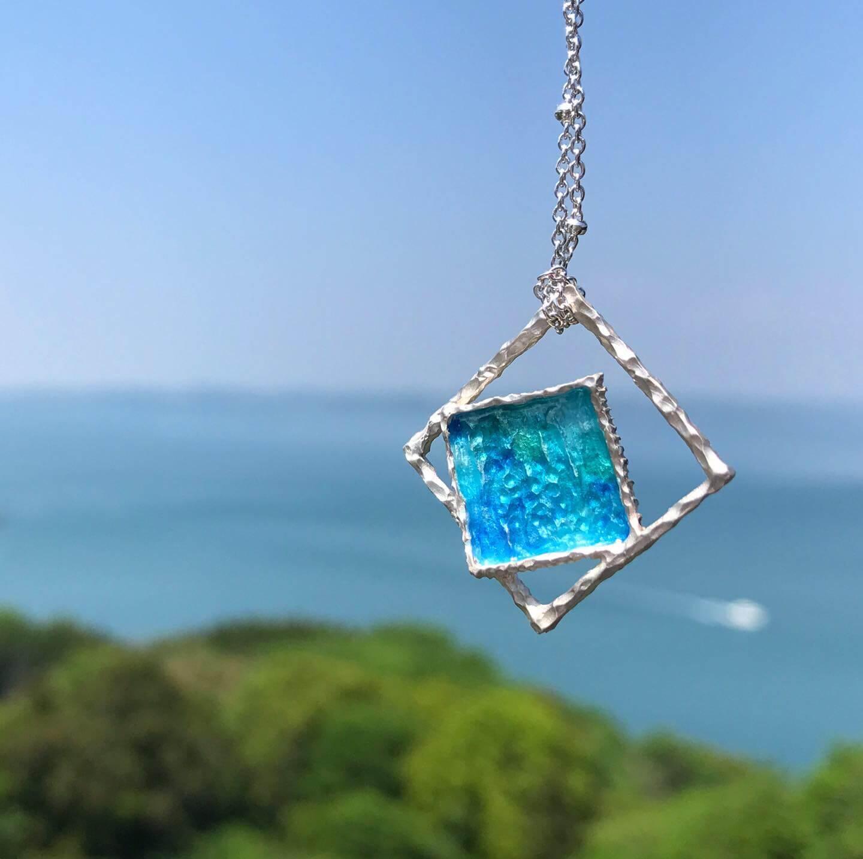 海洋系列-極簡海洋琺瑯銀項鍊