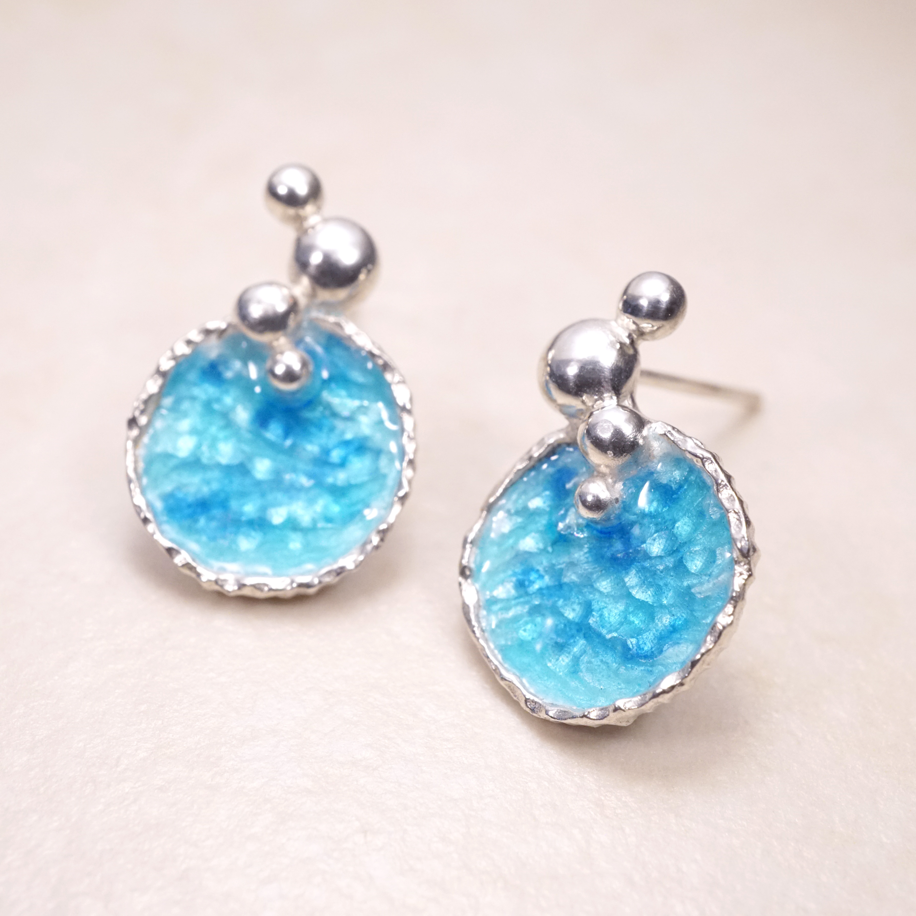 海洋系列-湛藍琺瑯銀耳環