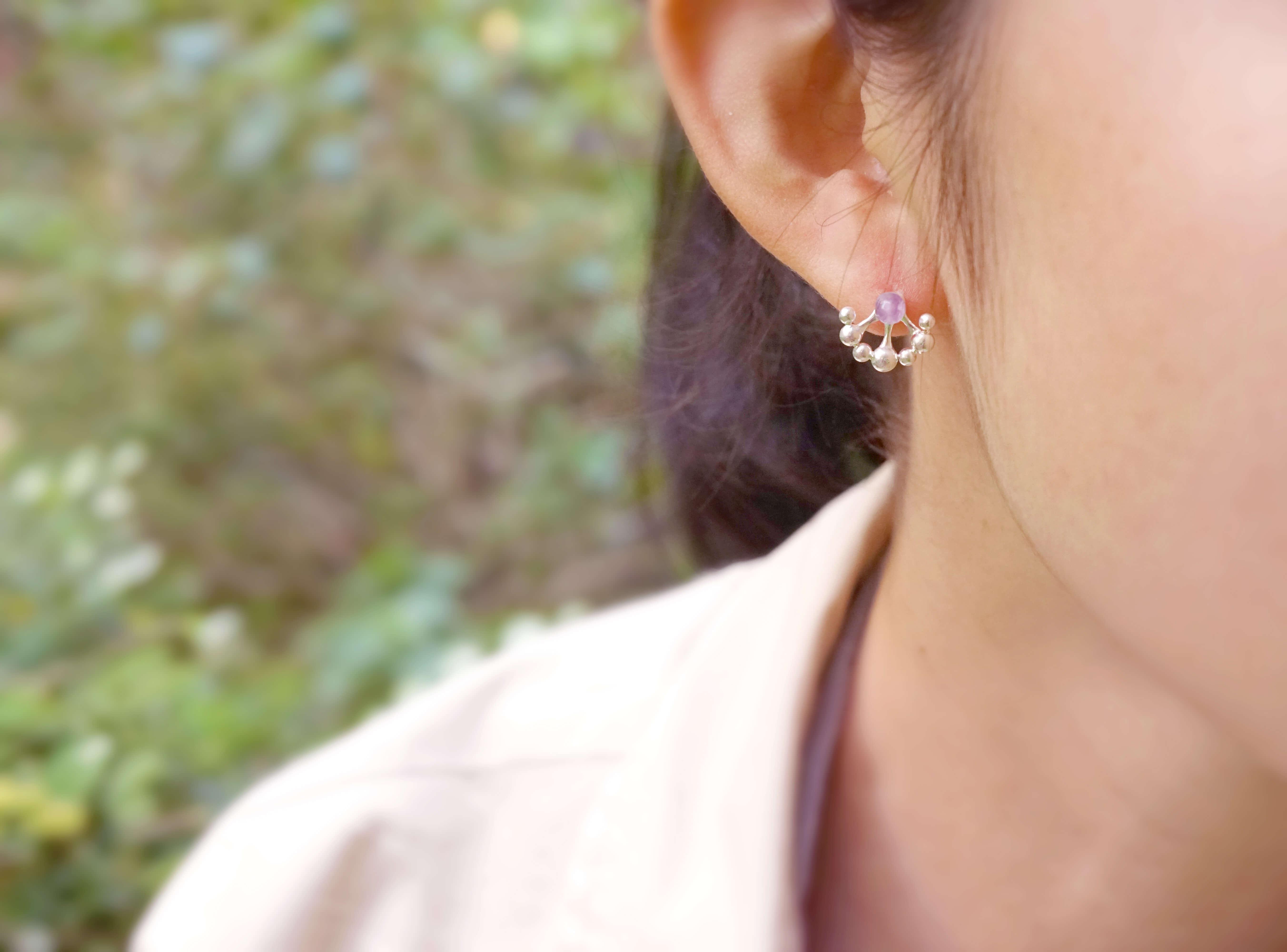 小花園系列-蒲公英耳環(紫玉)