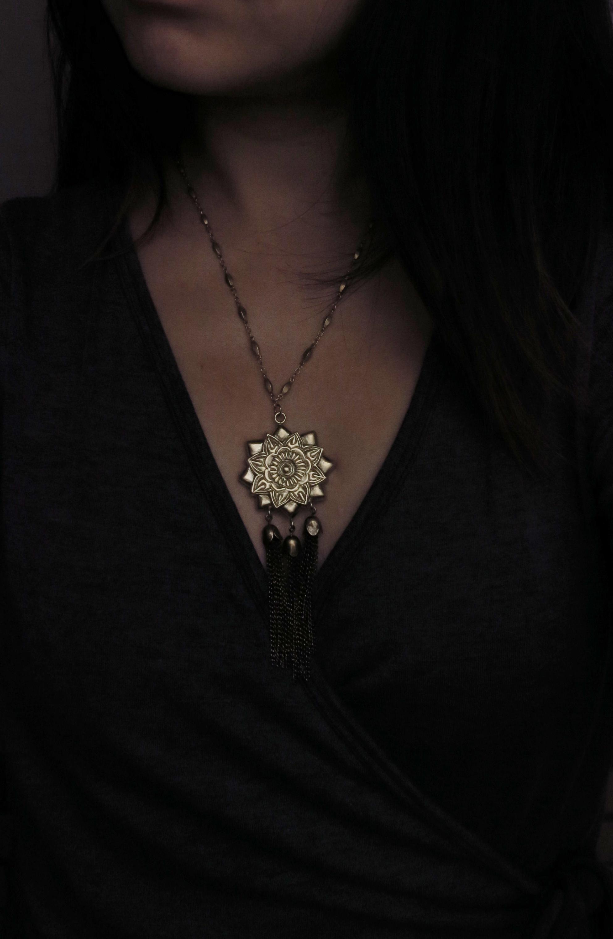 曼陀羅花朵 耳環 項鍊