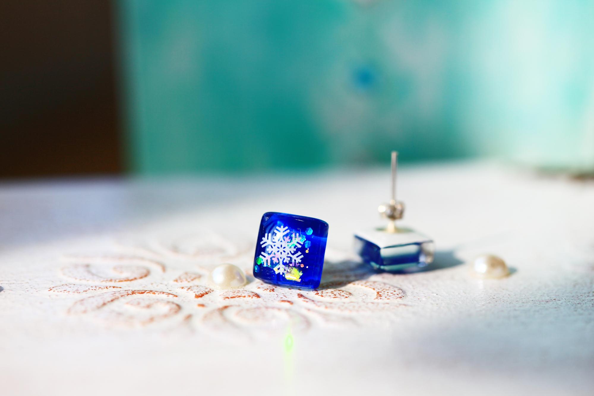 雪花紛紛-希臘藍(耳環-限量定制)