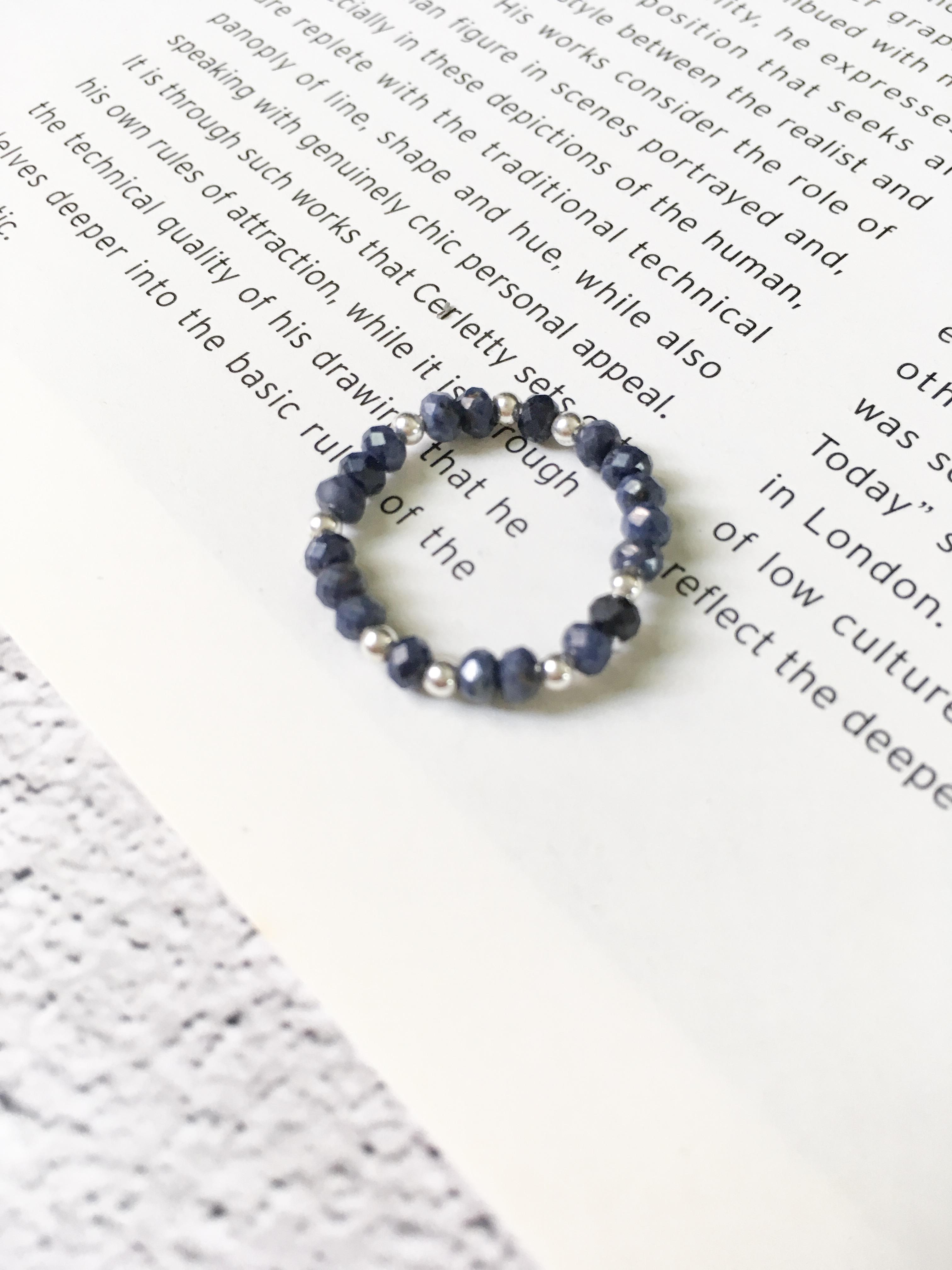 湛藍星夜 藍寶石銀珠戒指 925銀