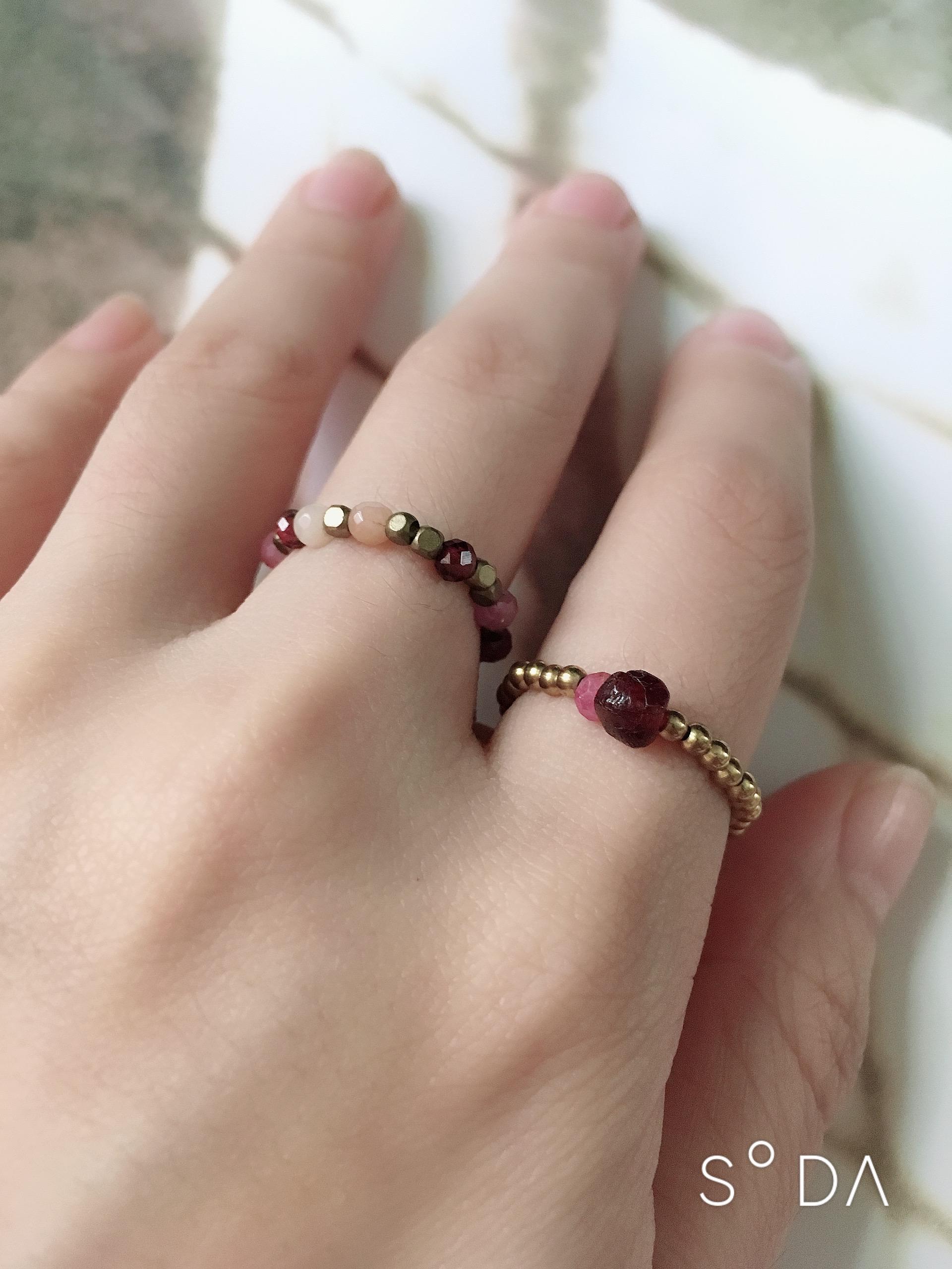 小幸運 紅石榴碧璽黃銅戒指