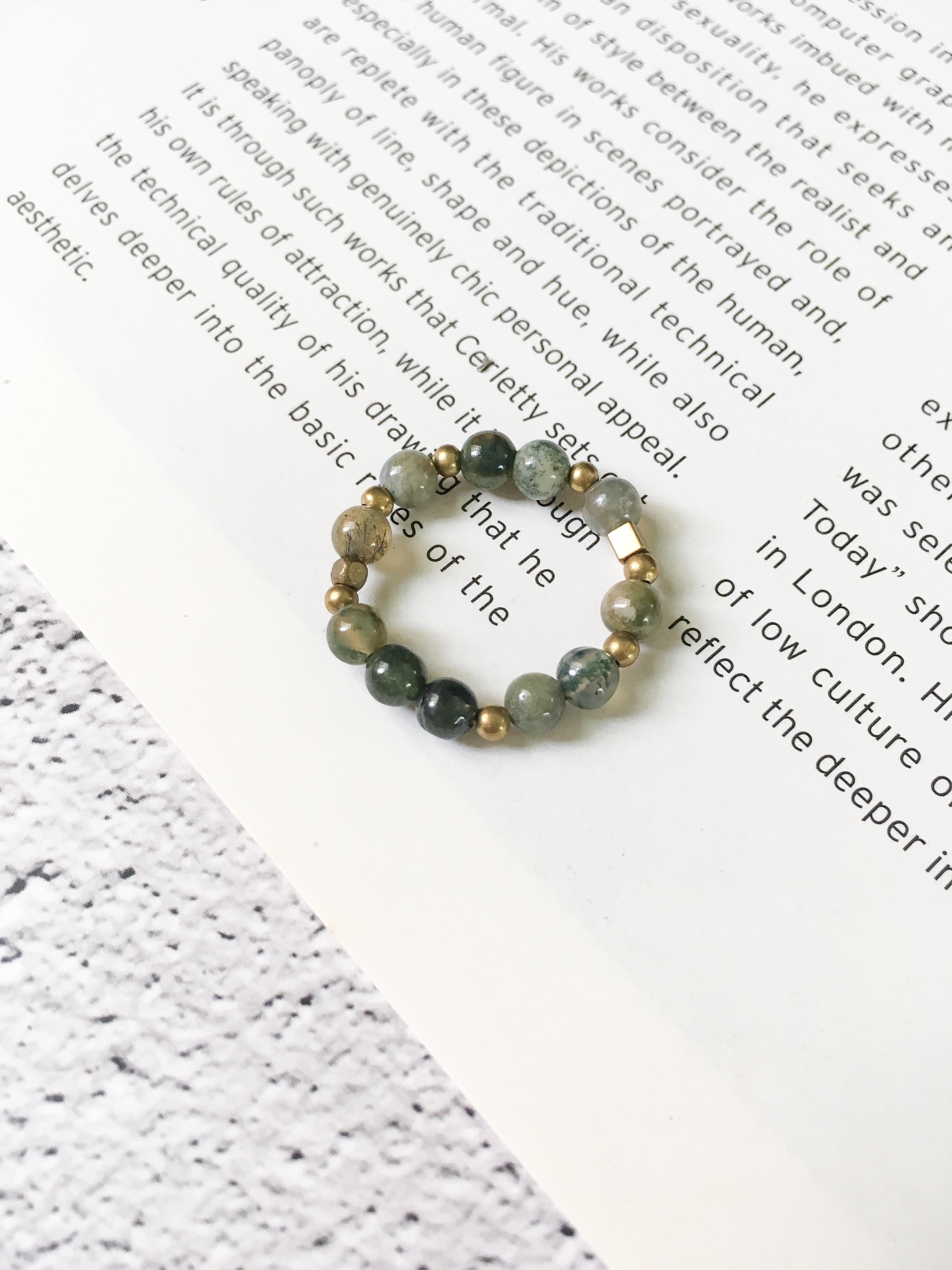 慵懶 海草玉黃銅戒指
